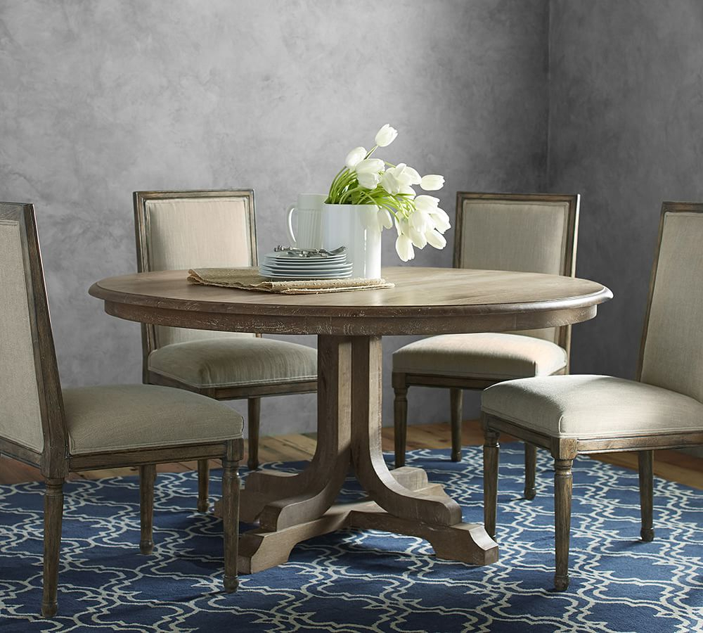 Belgian Gray Linden Extending Dining Tables Within Most Up To Date Linden Pedestal Dining Table (View 5 of 25)
