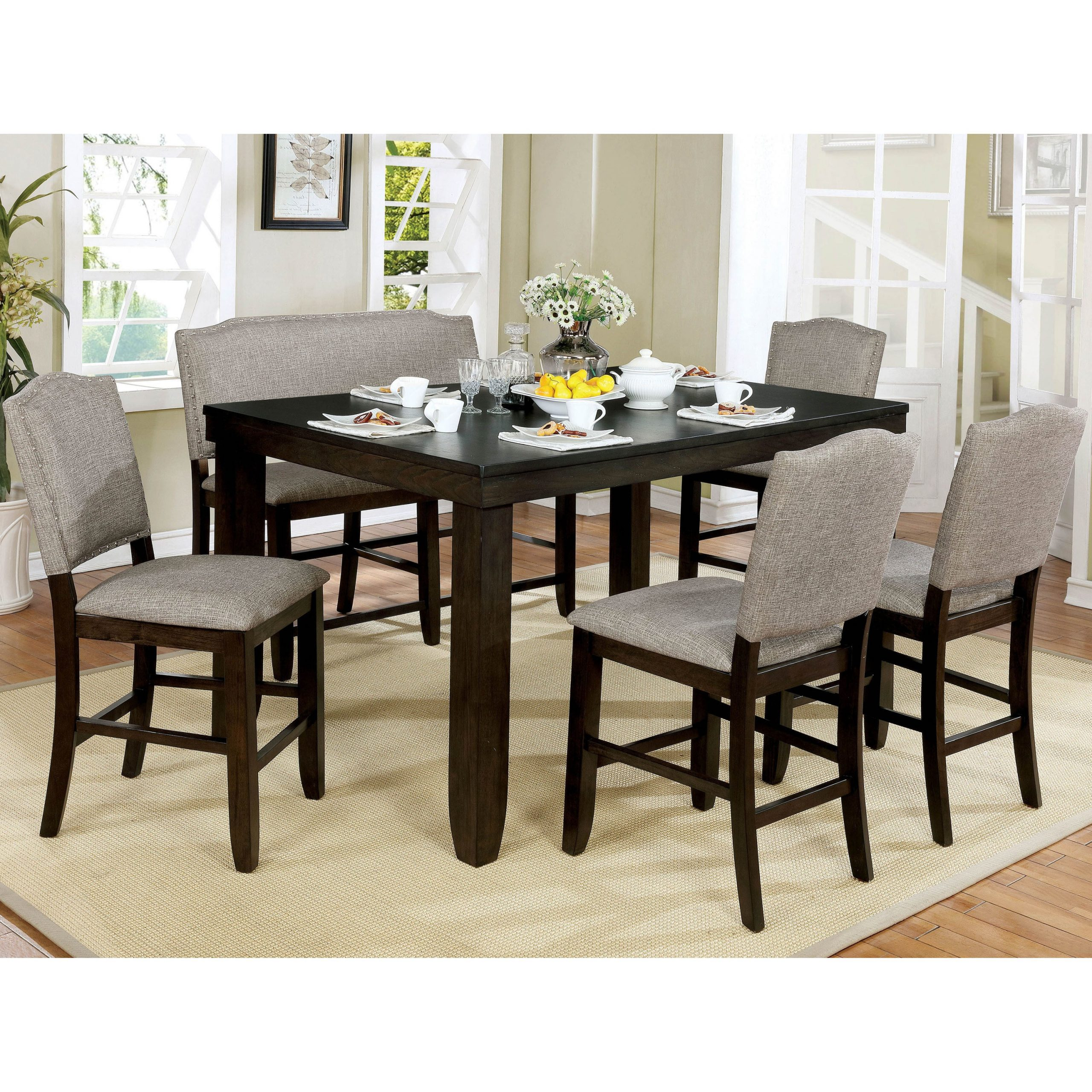 Benchwright Bar Height Dining Tables pertaining to Famous Furniture Of America Davenport Walnut 6-Piece Counter Dining Set
