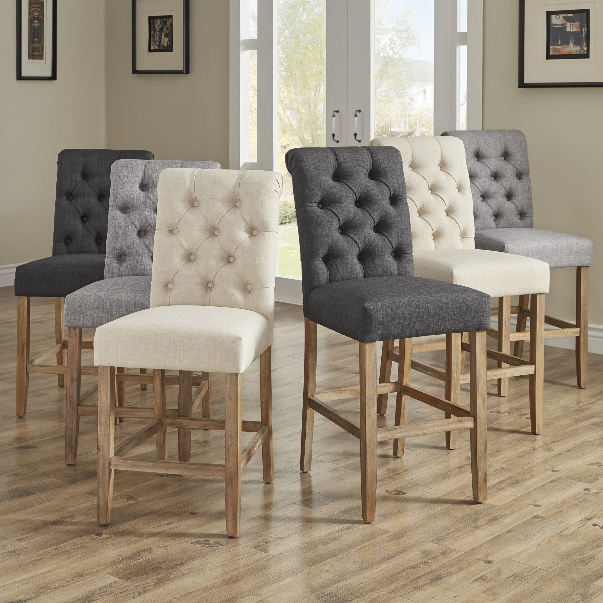 Benchwright Bar Height Dining Tables throughout Popular Benchwright Premium Tufted Rolled Back Counter/ Bar Height Stools (Set Of  2)Inspire Q Artisan