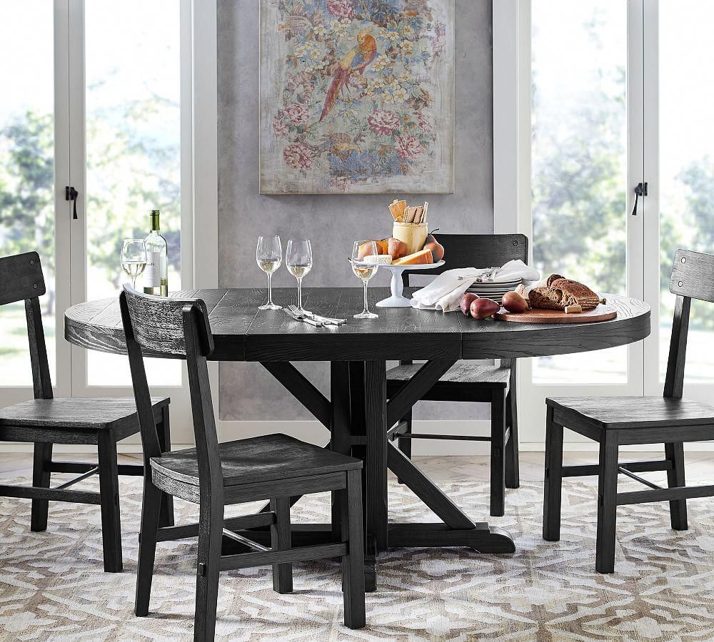 Benchwright Extending Pedestal Dining Table, Blackened Oak with Most Recent Driftwood White Hart Reclaimed Pedestal Extending Dining Tables
