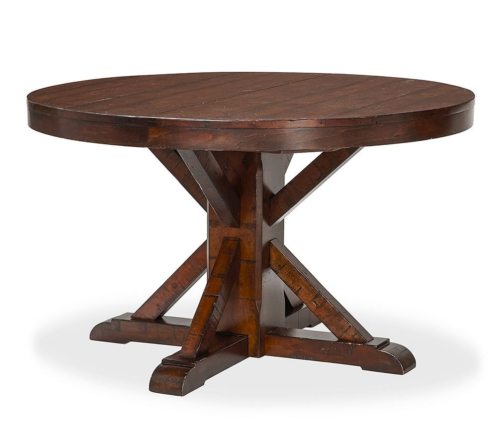 Benchwright Fixed Round Pedestal, Rustic Mahogany Stain Throughout Most Recently Released Benchwright Round Pedestal Dining Tables (View 8 of 25)
