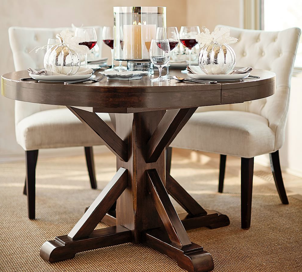 Benchwright Round Pedestal Dining Tables For Most Popular Benchwright Extending Pedestal Dining Table Alfresco Brown (View 12 of 25)