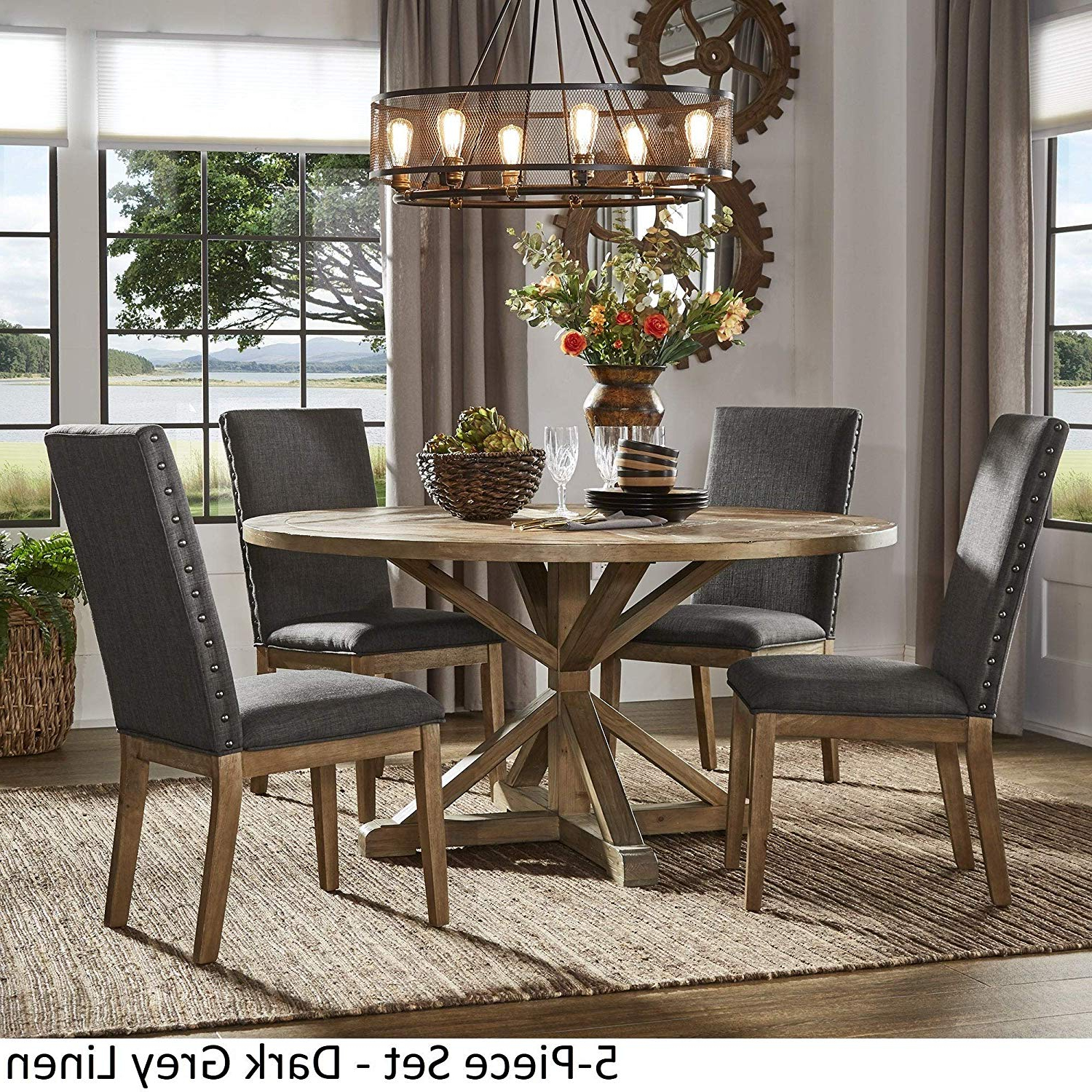 Benchwright Round Pedestal Dining Tables Inside Most Up To Date Amazon – Inspire Q Artisan Benchwright Rustic X Base (View 14 of 25)