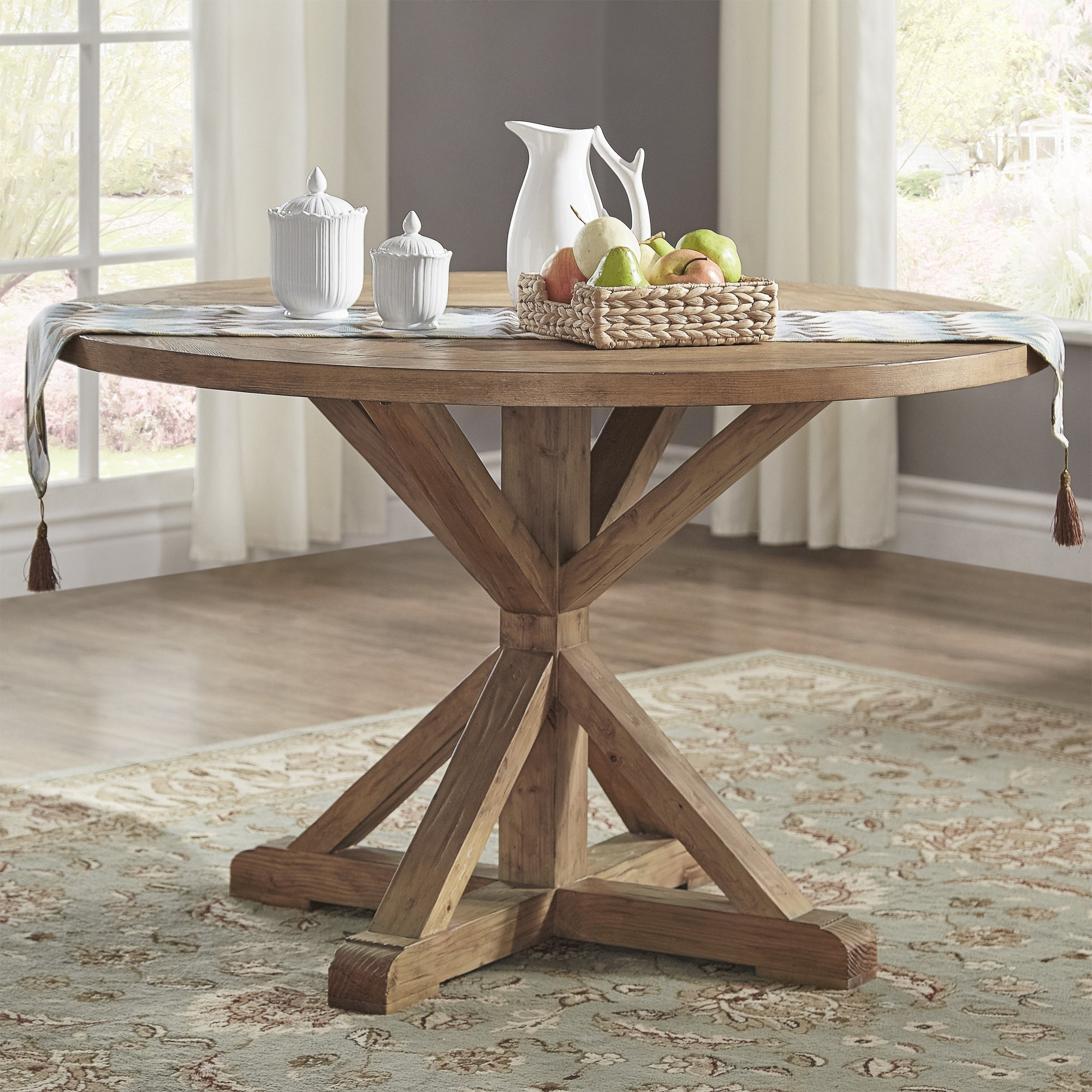 Benchwright Round Pedestal Dining Tables regarding Most Recent Benchwright Rustic X-Base 48-Inch Round Dining Table Setinspire Q  Artisan