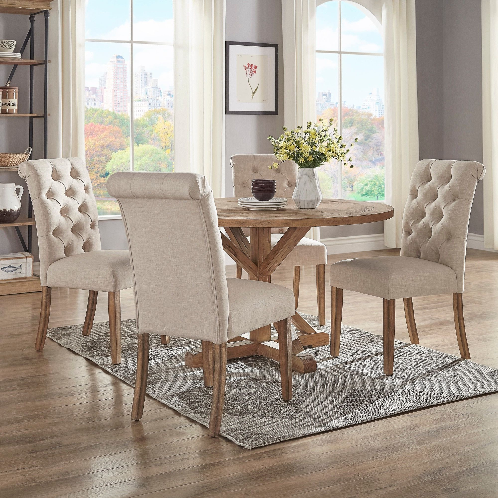 Benchwright Round Pedestal Dining Tables Throughout Latest Benchwright Rustic X Base 48 Inch Round Dining Table Set (View 3 of 25)