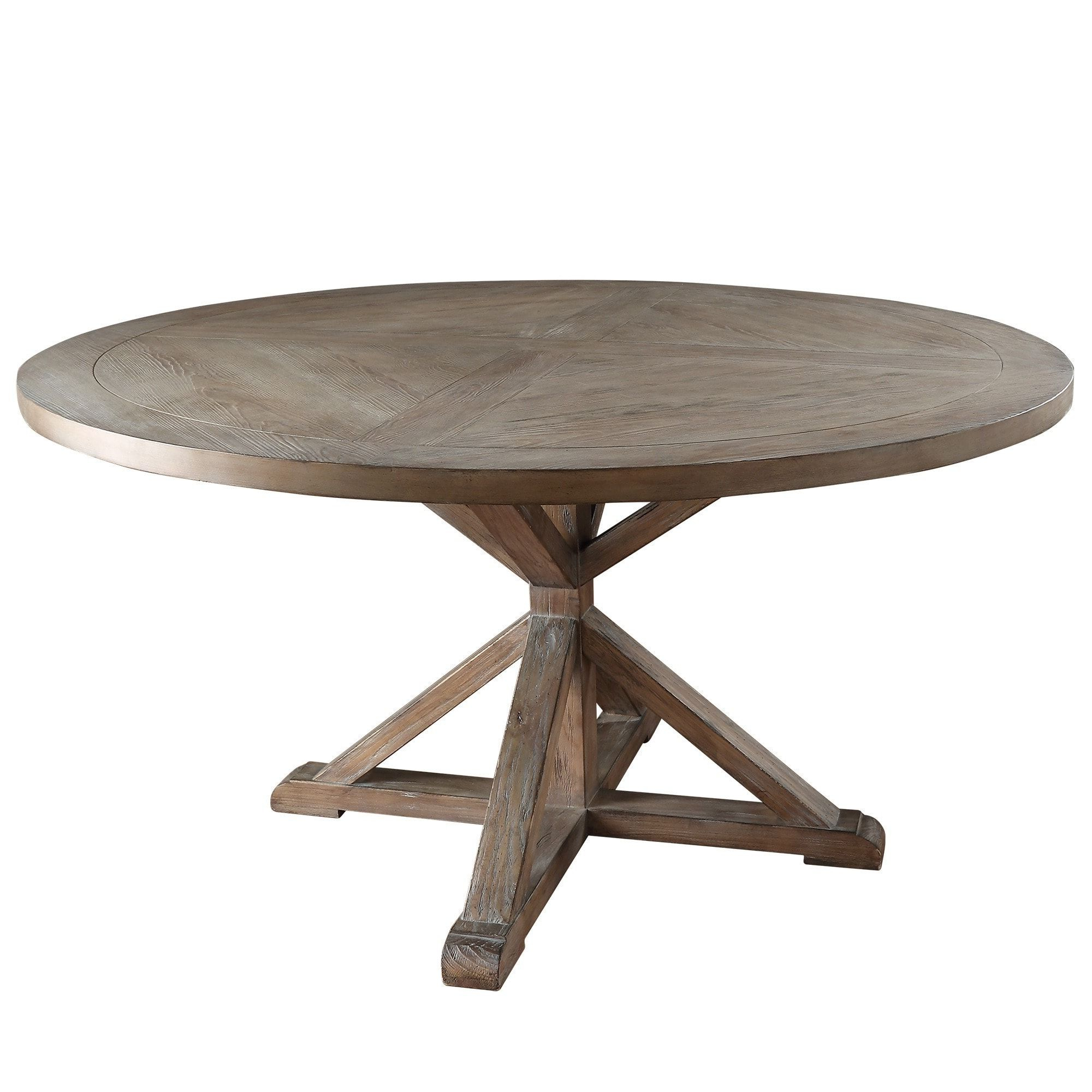 Benchwright Round Pedestal Dining Tables Throughout Latest Benchwright Rustic X Base Round Pine Wood Dining Table (View 24 of 25)
