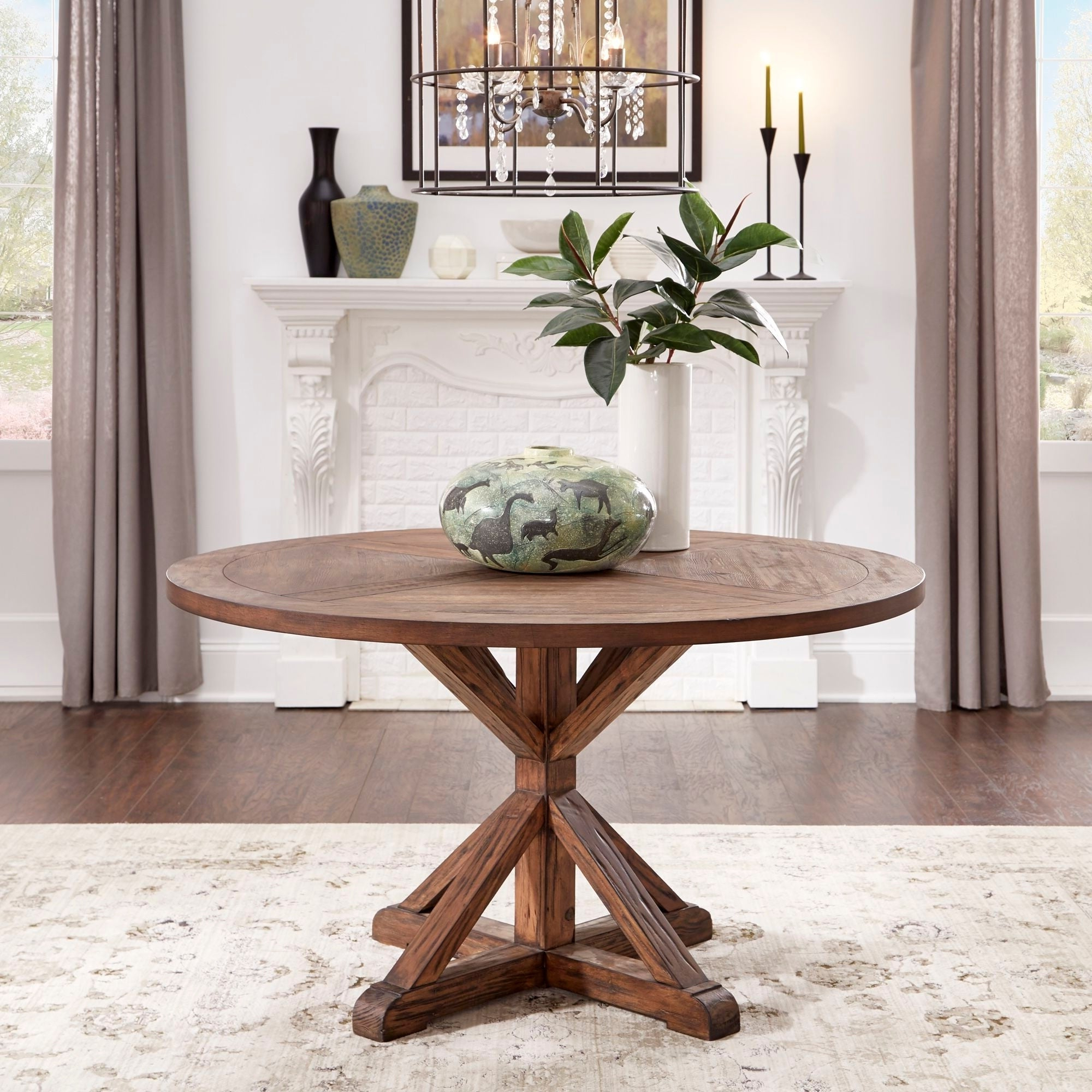 Benchwright Round Pedestal Dining Tables With Regard To Most Recent Benchwright Brown Finish Round Dining Tableinspire Q Artisan (View 11 of 25)