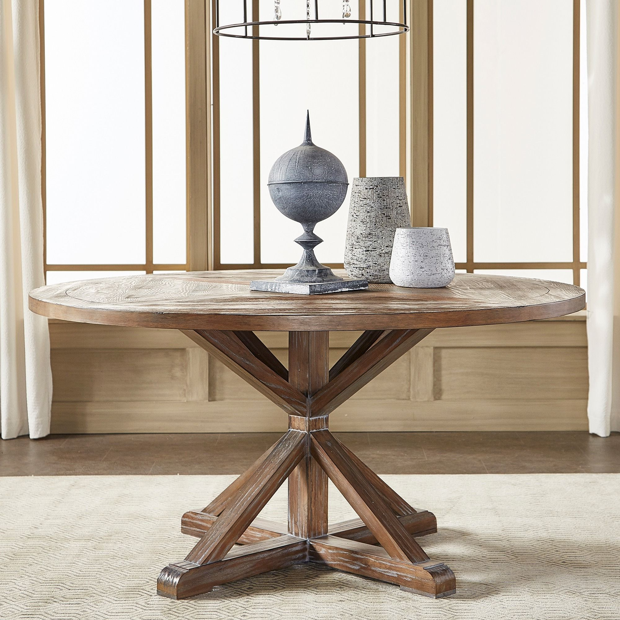 Benchwright Rustic X-Base Round Pine Wood Dining Table with regard to Well known Gray Wash Benchwright Pedestal Extending Dining Tables