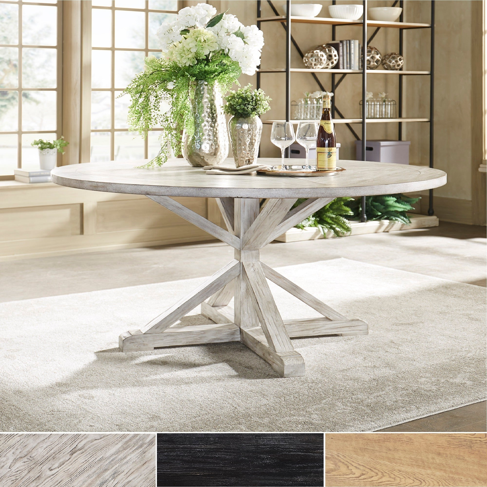 Benchwright Rustic X-Base Round Pine Wood Dining Tableinspire Q Artisan throughout Well-known Rustic Mahogany Benchwright Pedestal Extending Dining Tables
