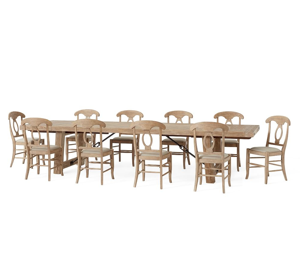 Benchwright Xl Extending Dining Table & 8 Aaron Side Chairs In Trendy Seadrift Banks Extending Dining Tables (View 6 of 25)
