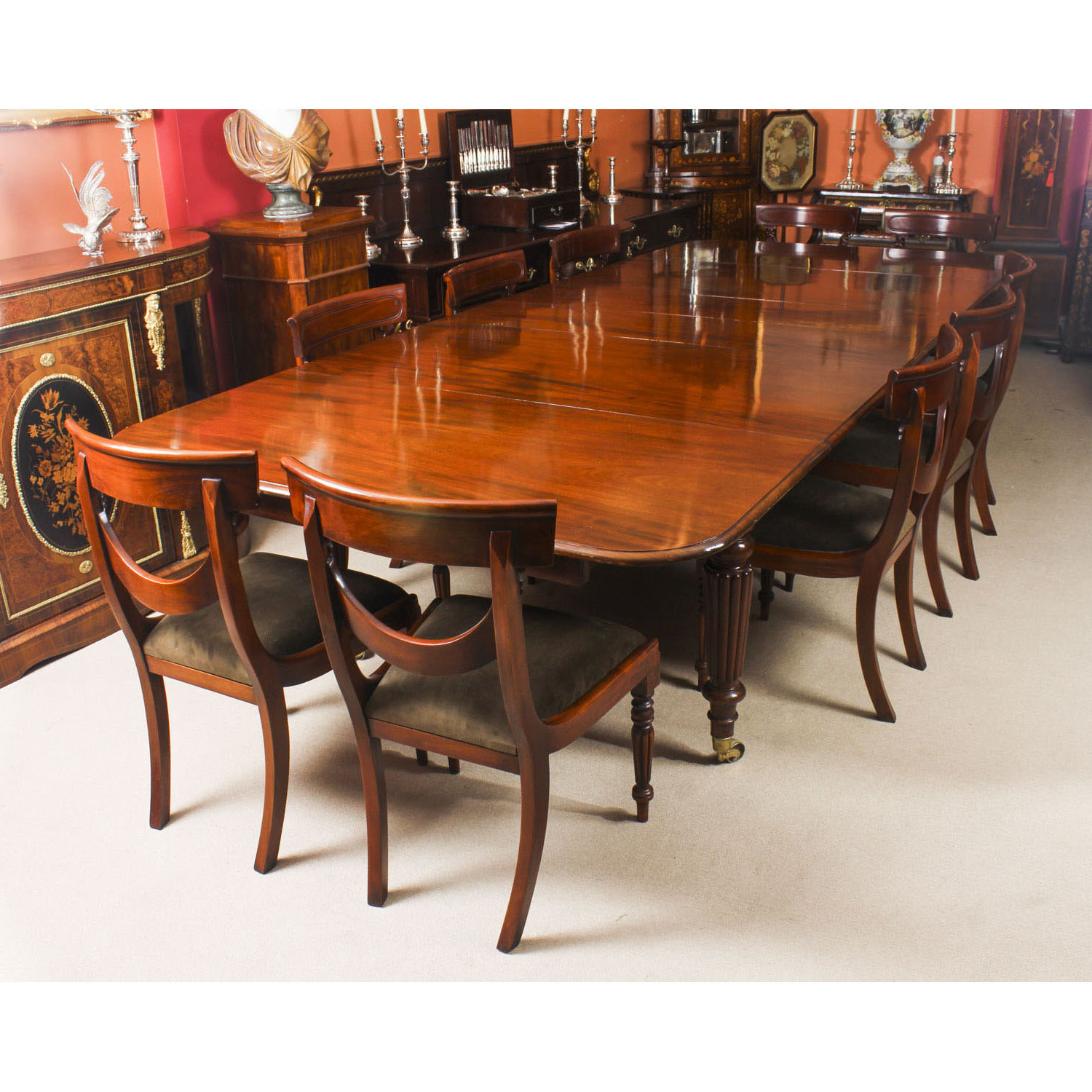 Best and Newest Antique Mahogany Extending Dining Table C1840 & 10 Chairs for Rustic Mahogany Extending Dining Tables