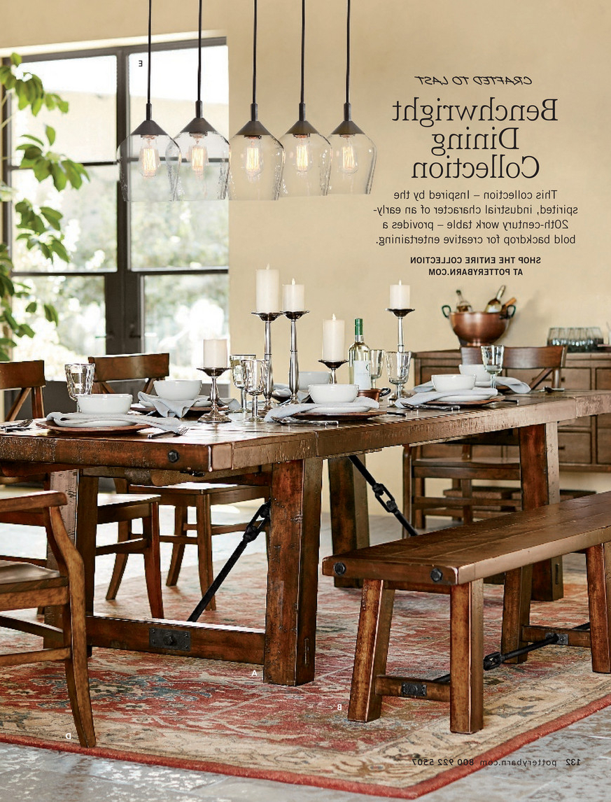 Best and Newest Blackened Oak Benchwright Extending Dining Tables intended for Pottery Barn - Spring 2017 D2 - Benchwright Extending Dining