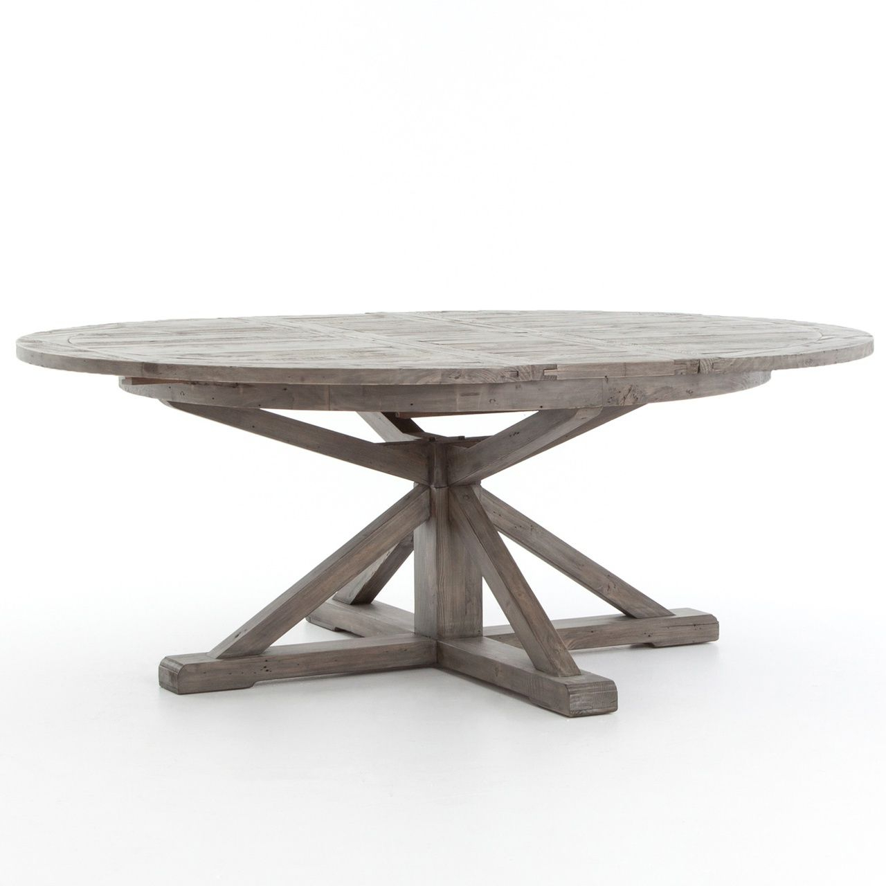 "Best and Newest Cintra Reclaimed Wood Extending Round Dining Table 63""- Gray within Driftwood White Hart Reclaimed Pedestal Extending Dining Tables"