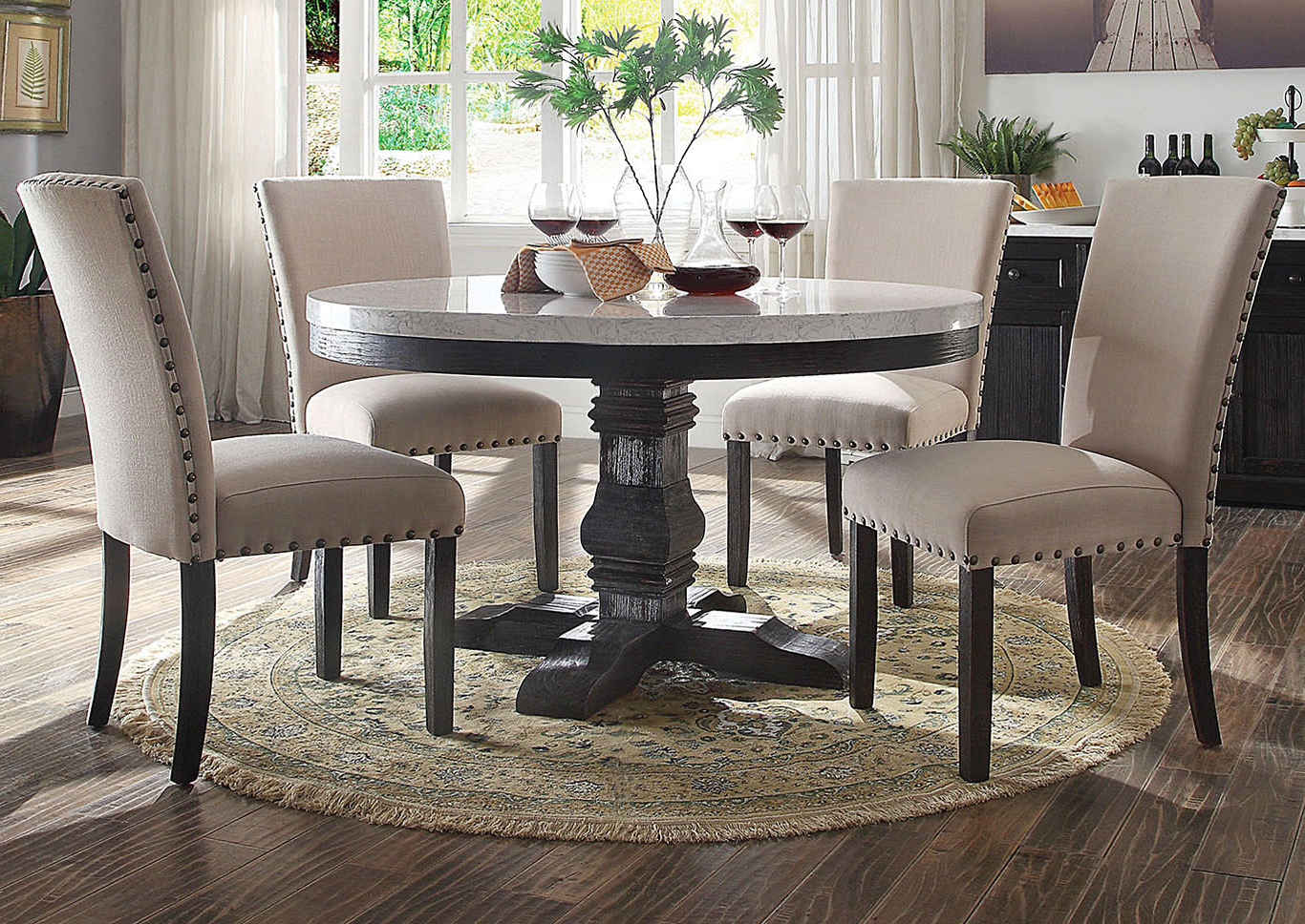 Best and Newest Furniture & Mattress Outlet Nolan White Marble/salvage Oak for Nolan Round Pedestal Dining Tables