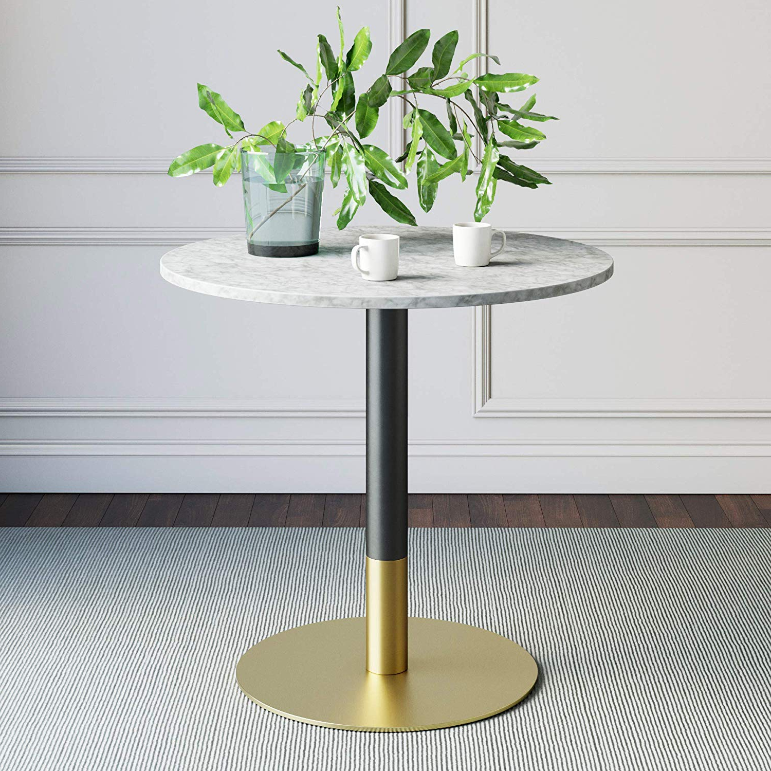 Best And Newest Nathan James 42002 Lucy Small Mid Century Modern Kitchen Or Dining Table  With Faux Carrara Marble Top And Brushed Metal Pedestal Base, White/gold Intended For Lucy Bar Height Dining Tables (View 4 of 25)