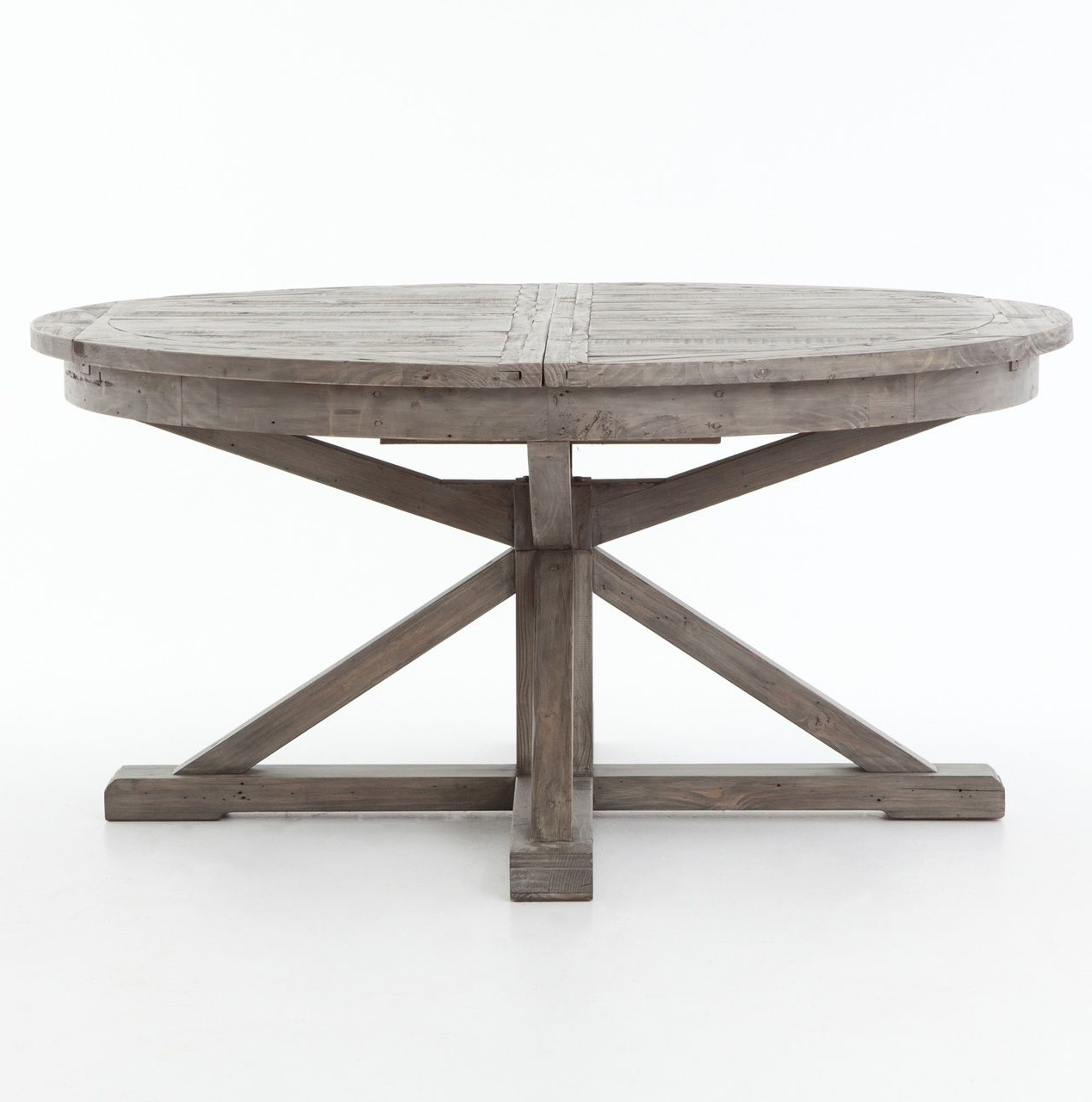 """Best and Newest Rustic Mahogany Benchwright Pedestal Extending Dining Tables within Cintra Reclaimed Wood Extending Round Dining Table 63"""" In"""