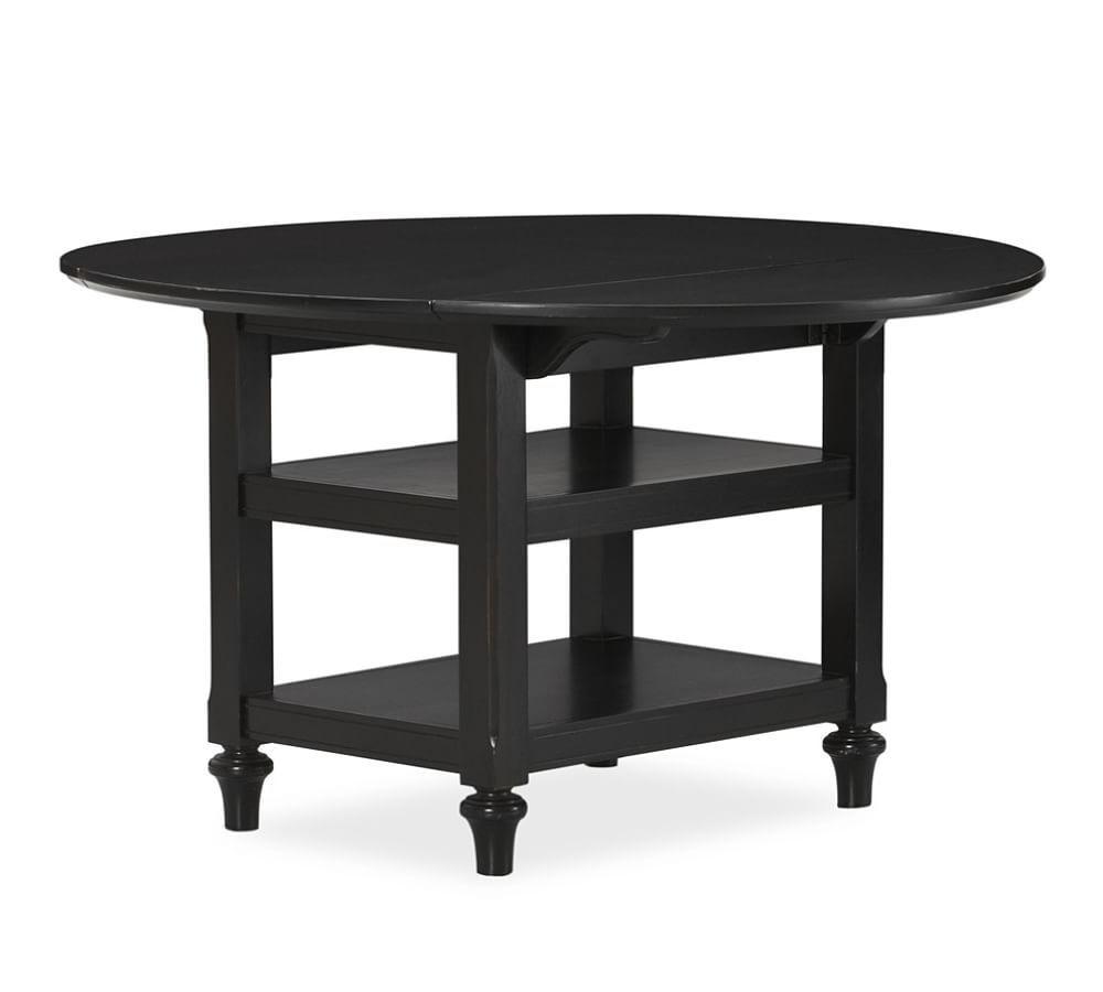 """Black Shayne Drop-Leaf Kitchen Tables for Best and Newest Shayne Round Drop-Leaf Kitchen Table, 49 X 26"""", Antique"""