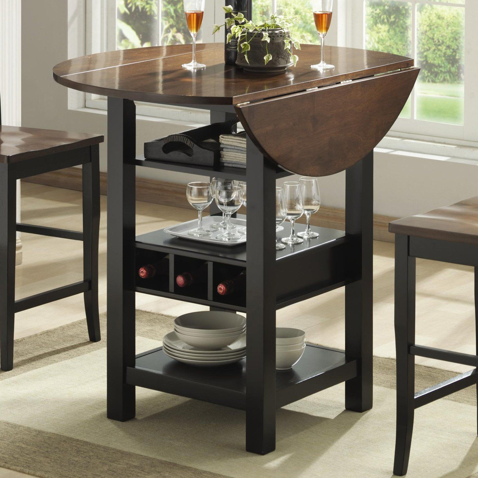 Black Shayne Drop-Leaf Kitchen Tables in Recent Ridgewood Counter Height Drop Leaf Dining Table With Storage