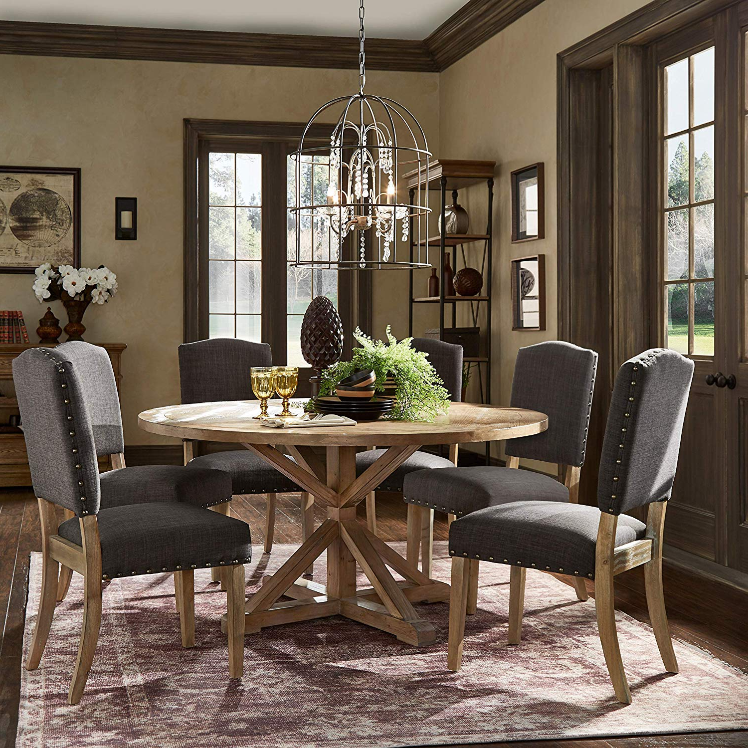 Blackened Oak Benchwright Dining Tables with 2020 Amazon - Inspire Q Artisan Benchwright Rustic X-Base
