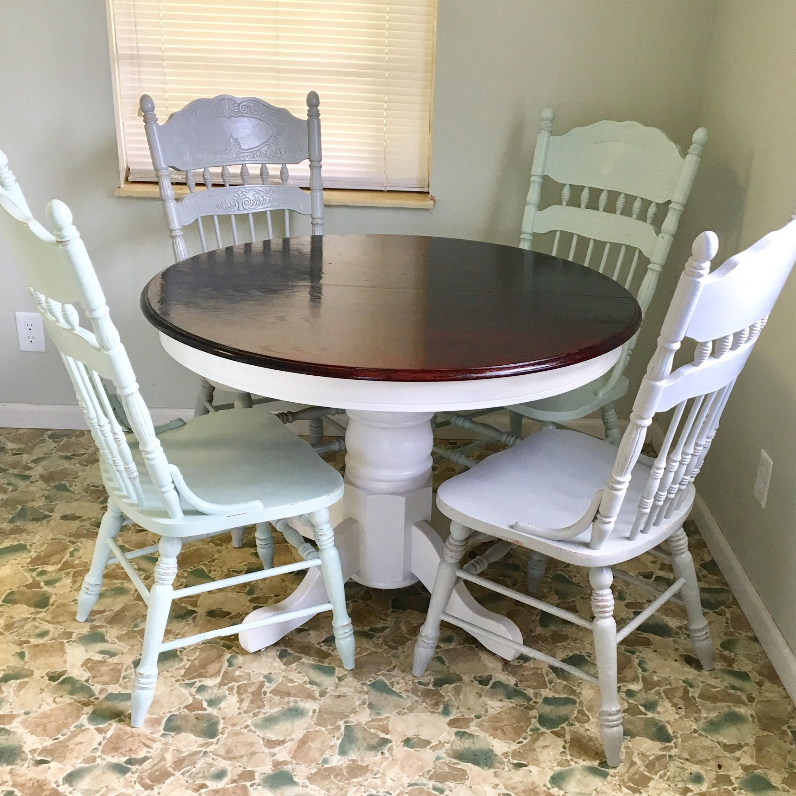 Blackened Oak Benchwright Dining Tables within 2020 Before And After. Round Oak Table Makeover/redo. Upcycled