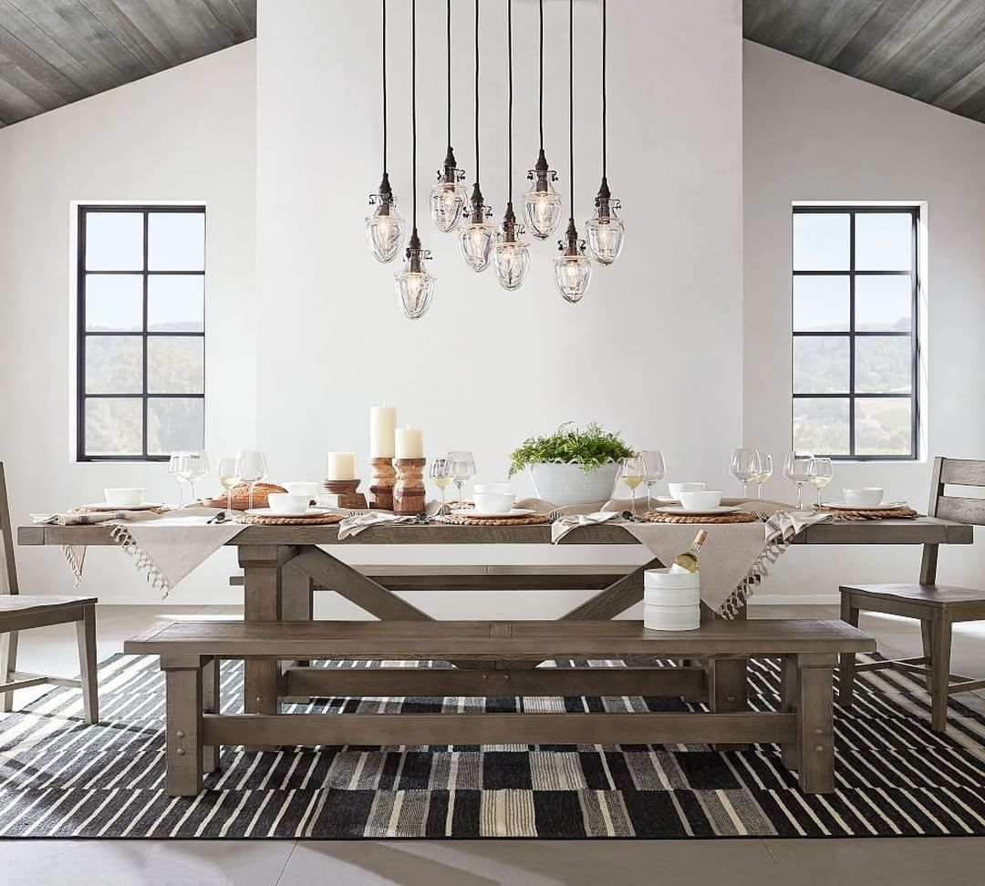 """Blackened Oak Benchwright Extending Dining Tables regarding Preferred Pottery Barn On Instagram: """"Equal Parts Rustic And Cool, Our"""