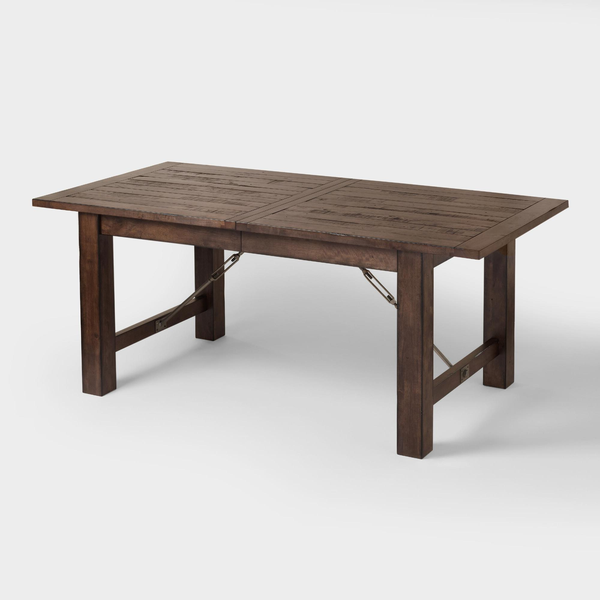 Blackened Oak Benchwright Extending Dining Tables within Fashionable Wood Garner Extension Dining Table: Brownworld Market In