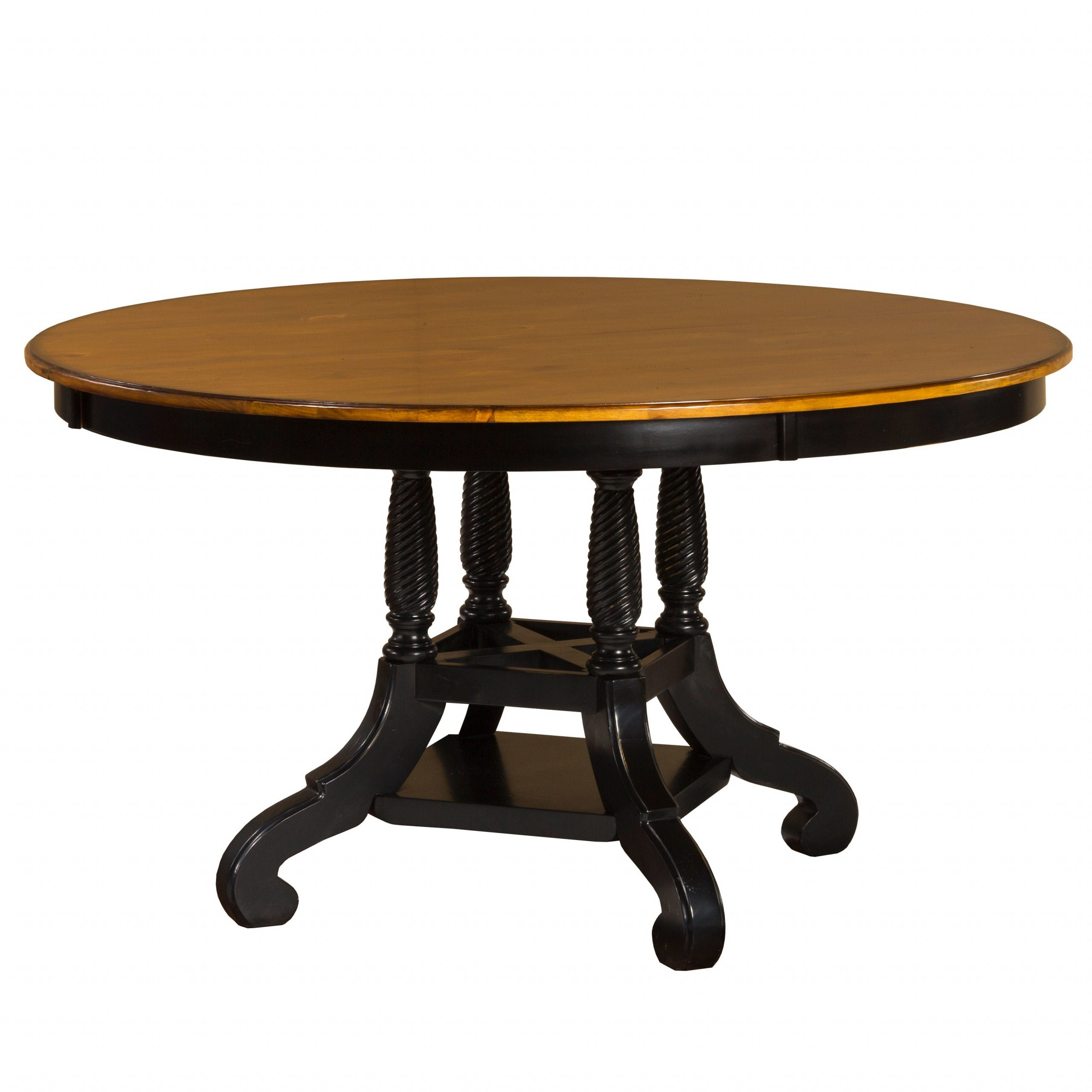Blackened Oak Benchwright Pedestal Extending Dining Tables intended for Latest Hillsdale Furniture Wilshire Rubbed Black Wood Round Table