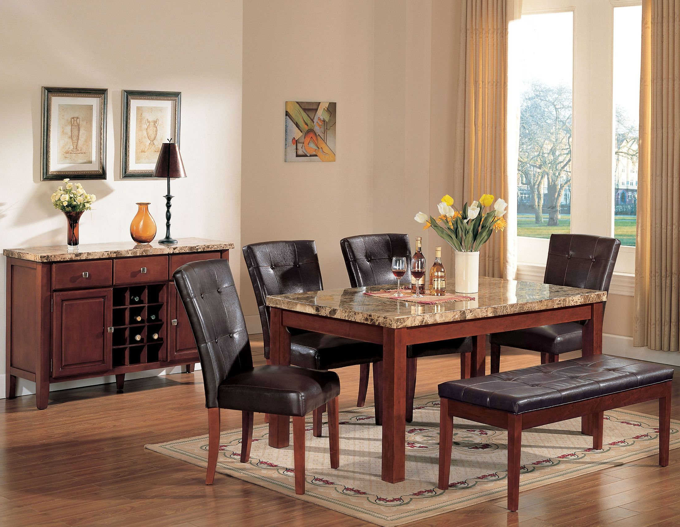 Bologna Brown Marble And Brown Cherry Dining Room Set for Most Recent Montalvo Round Dining Tables