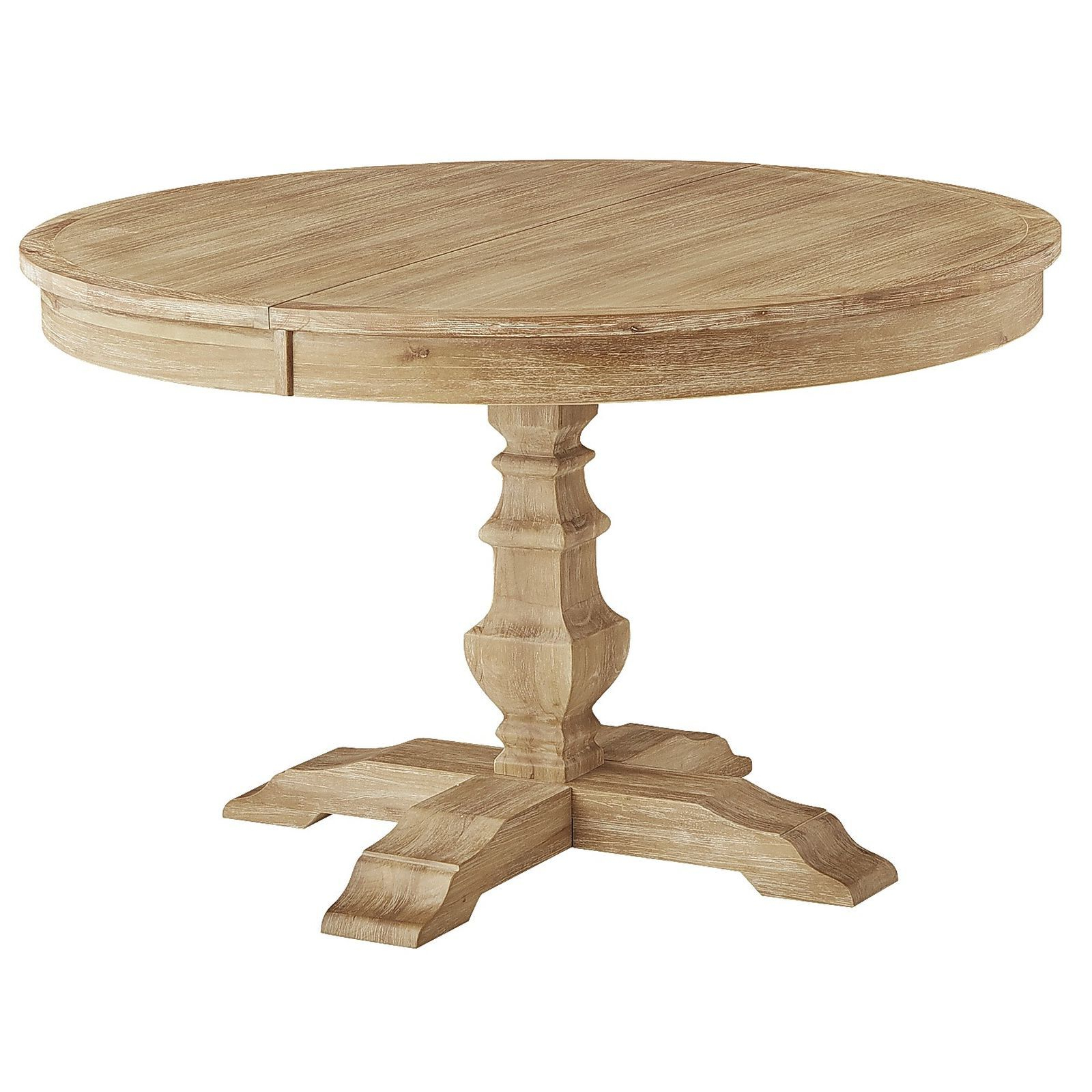 Bradding Natural Stonewash Round Extension Dining Table In intended for Current Gray Wash Banks Extending Dining Tables