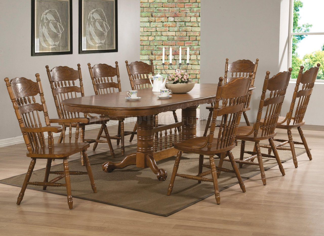 Brooks Dining Table 104271Coaster In Oak W/options throughout 2019 Brooks Round Dining Tables