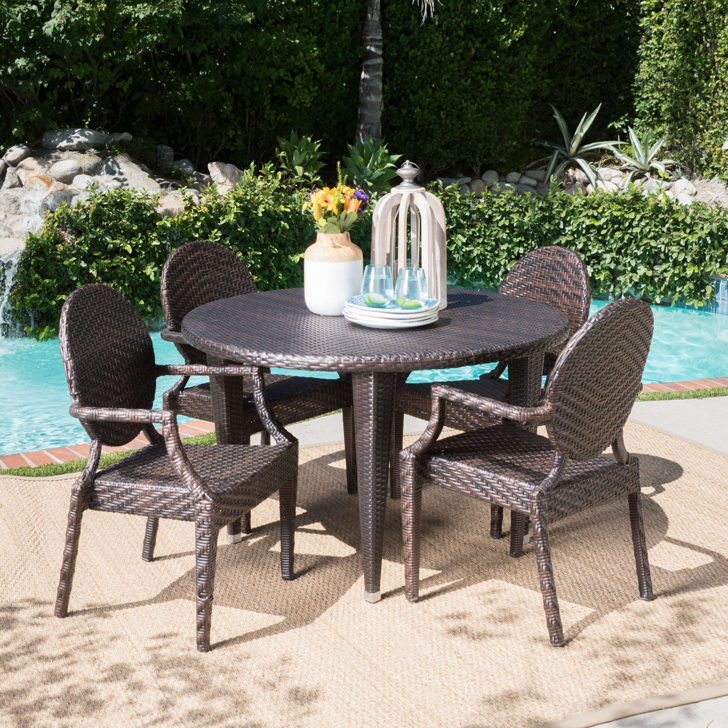 Brooks Outdoor 5-Piece Round Dining Setchristopher Knight Home with Most Recent Brooks Round Dining Tables