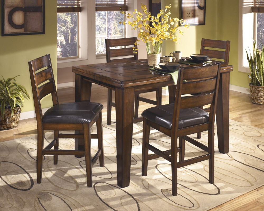 Brooks Round Dining Tables in Well-liked Larchmont Butterfly Ext Table & 4 Uph Bar Stools