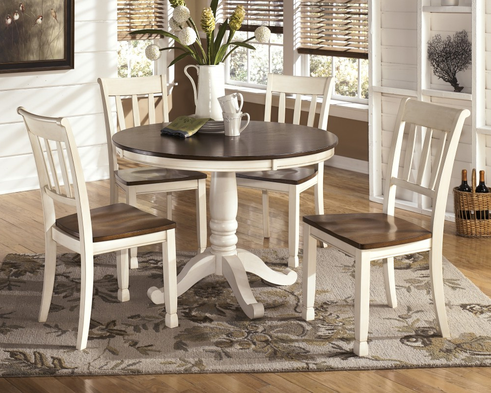 Brooks Round Dining Tables intended for Most Current Whitesburg Round Dining Room Table & 4 Side Chairs