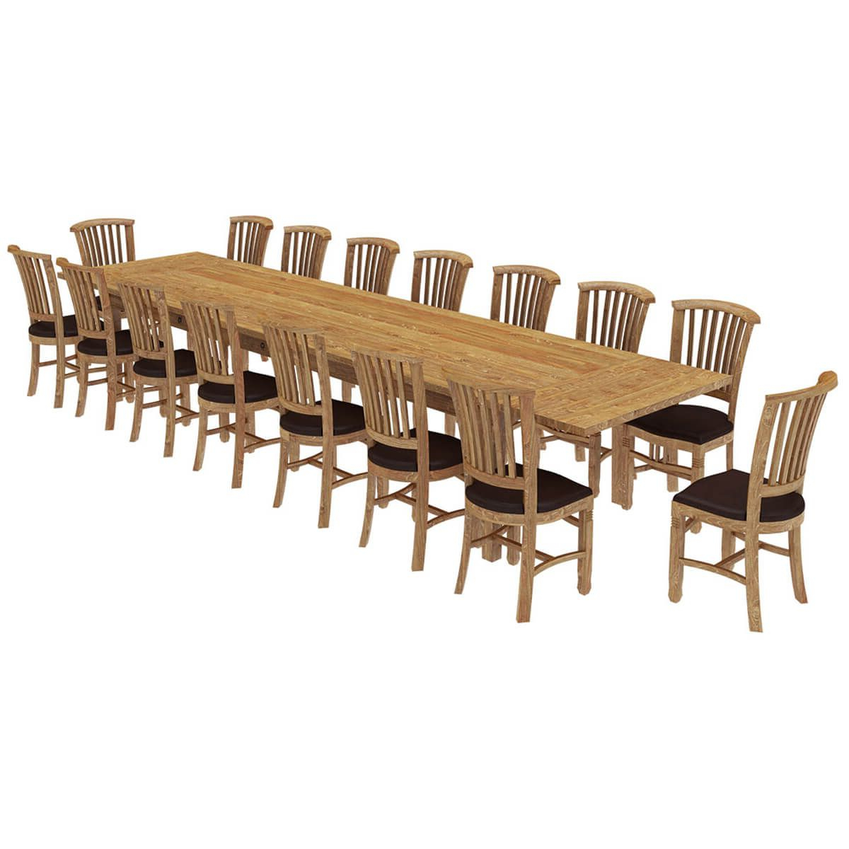 Brussels Reclaimed Wood 17 Piece Large Extendable Dining in Well-liked Brussels Reclaimed European Barnwood Dining Tables