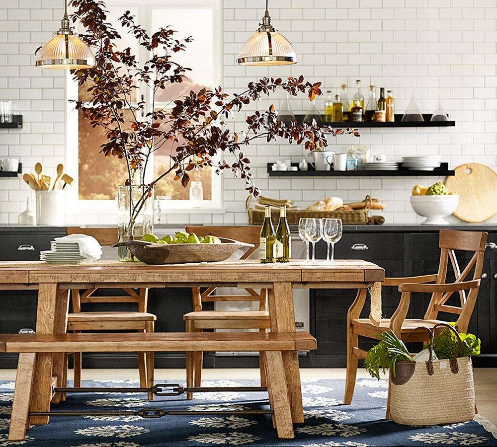 Current 10 Decorating And Design Ideas From Pottery Barn39S Fall In Seadrift Benchwright Pedestal Extending Dining Tables (View 8 of 25)