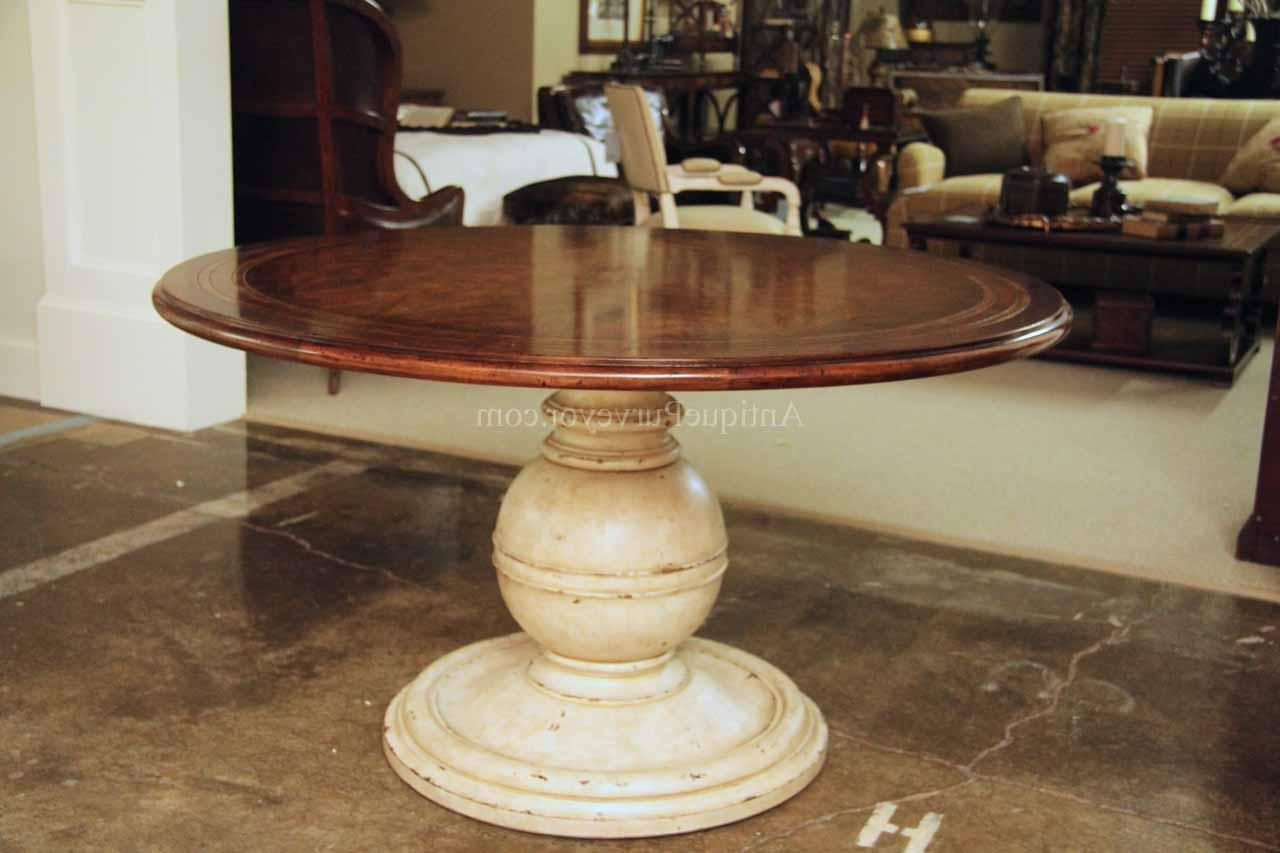 Current 54 Inch Round Country Kitchen Table With Distressed Painted Pedestal Inside Alexandra Round Marble Pedestal Dining Tables (View 24 of 25)
