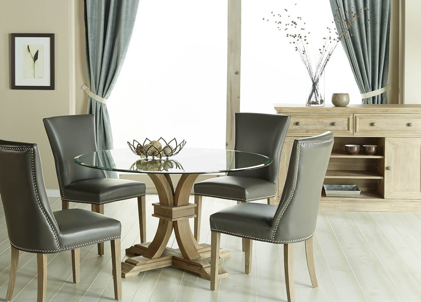 """Current Devon 54"""" Round Dining Table Glass Top : Avery Din Chr Inside Avery Round Dining Tables (View 8 of 25)"""