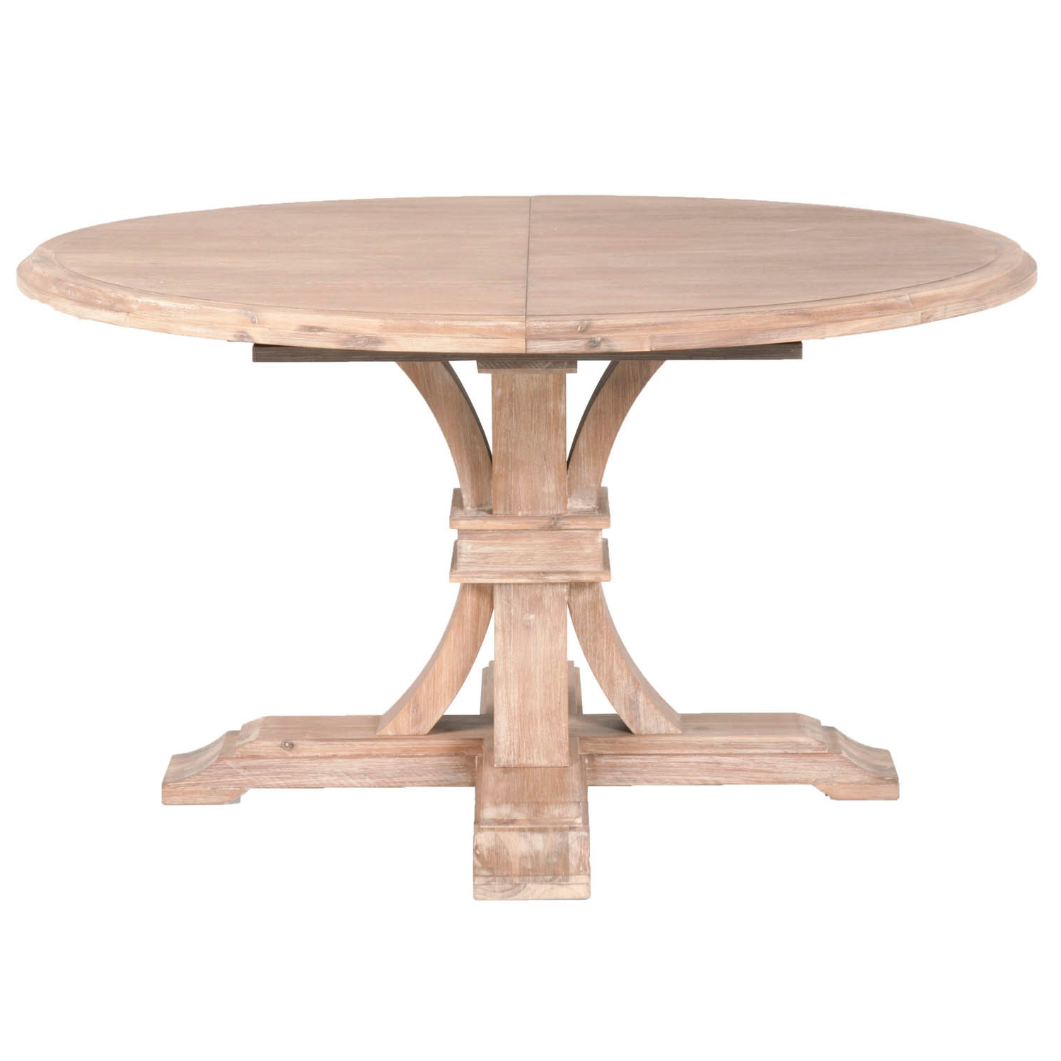 Darby Stone Wash Round Extension Dining Table throughout Well-known Gray Wash Benchwright Pedestal Extending Dining Tables