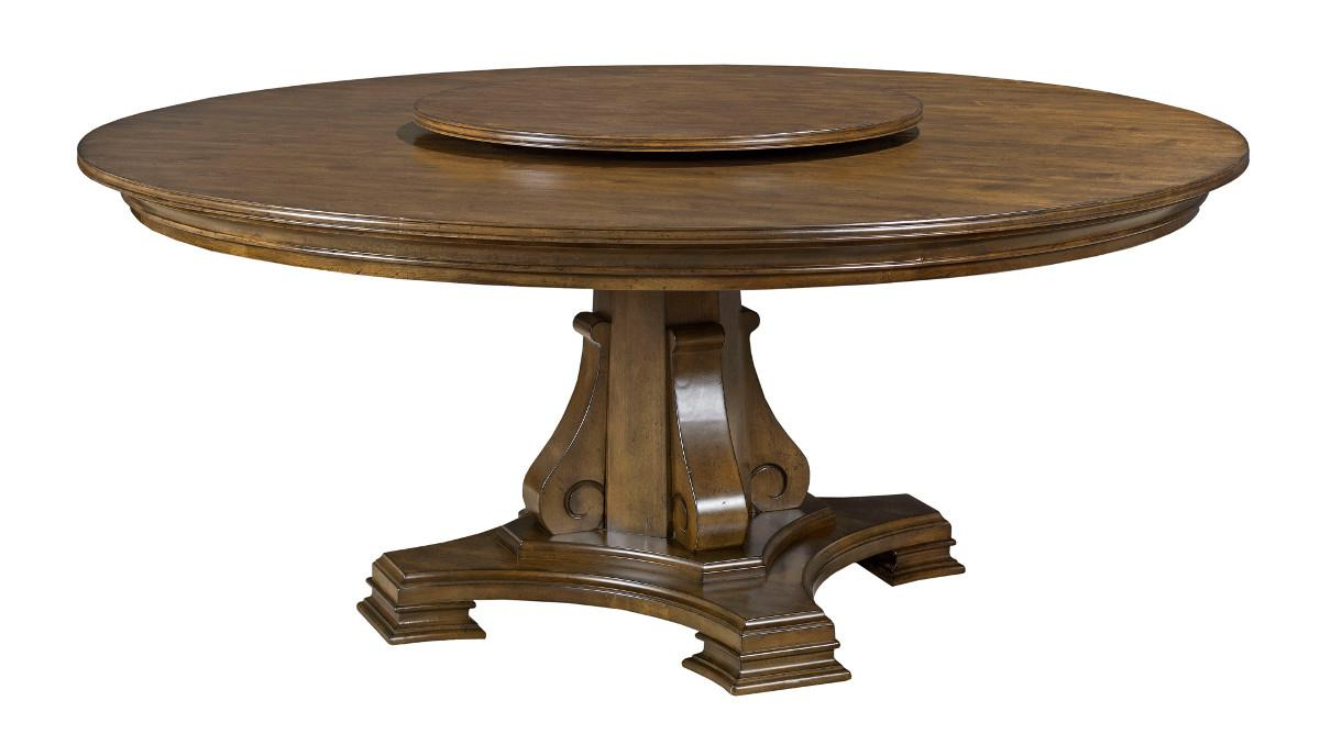"""Dawson Pedestal Dining Tables intended for Latest Kincaid Furniture Portolone Stellia 72"""" Round Solid Wood"""
