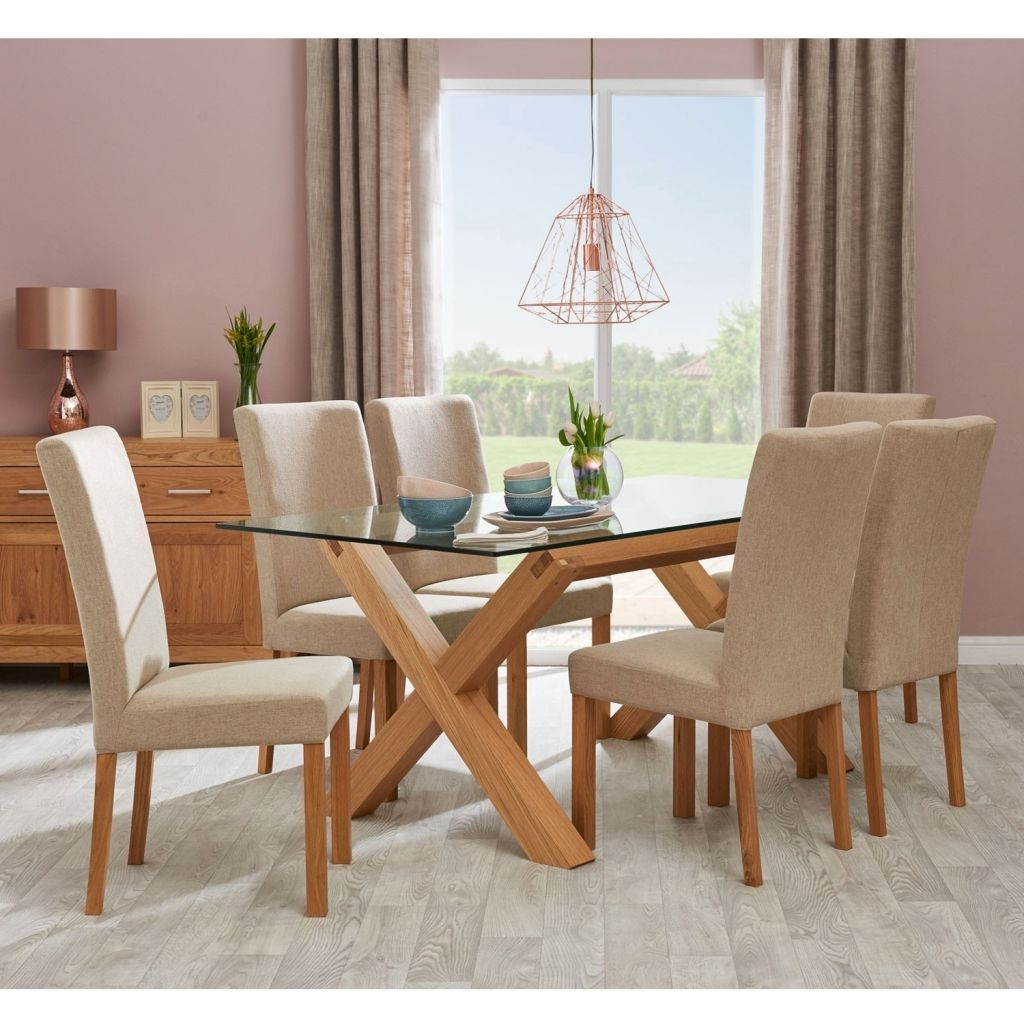Dining Set With Upholstered Chairs – Crazymba.club throughout Most Current Rustic Mahogany Benchwright Pedestal Extending Dining Tables