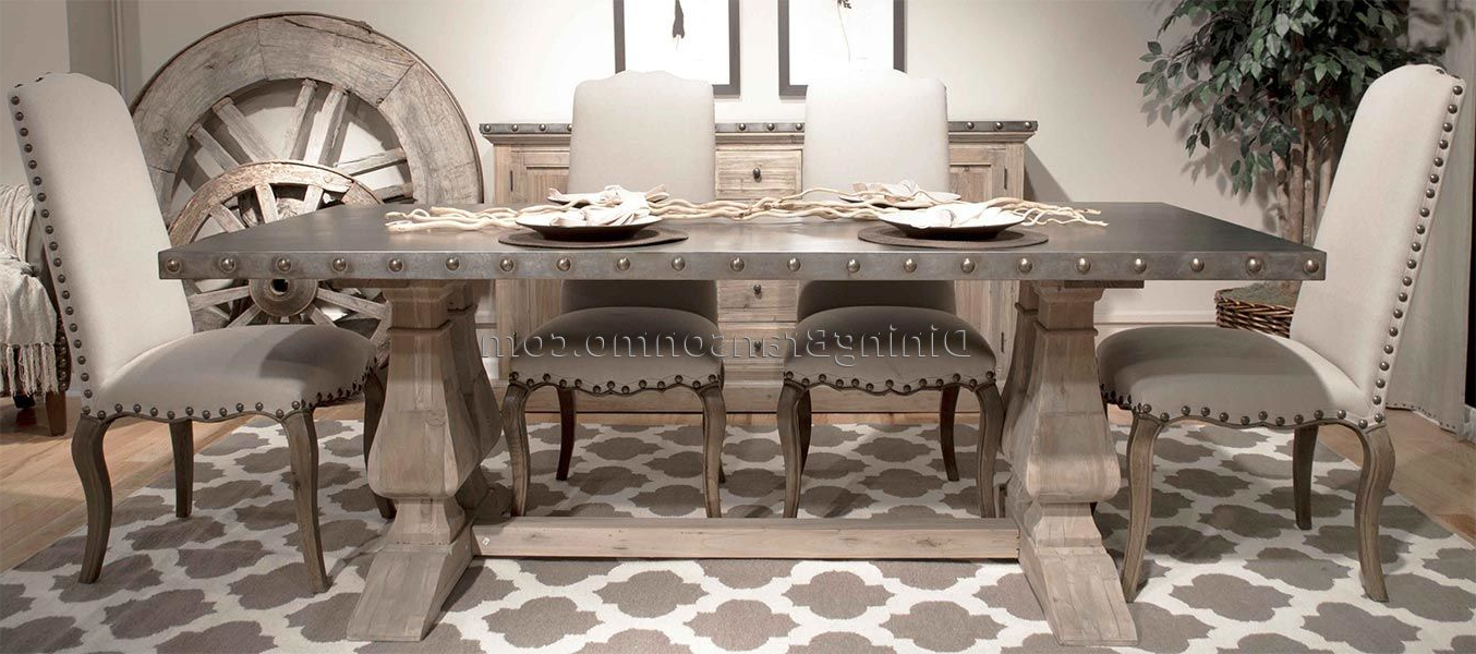 Distressed Dining Room Table And Chairs - Kallekoponen pertaining to Well-known Warner Round Pedestal Dining Tables