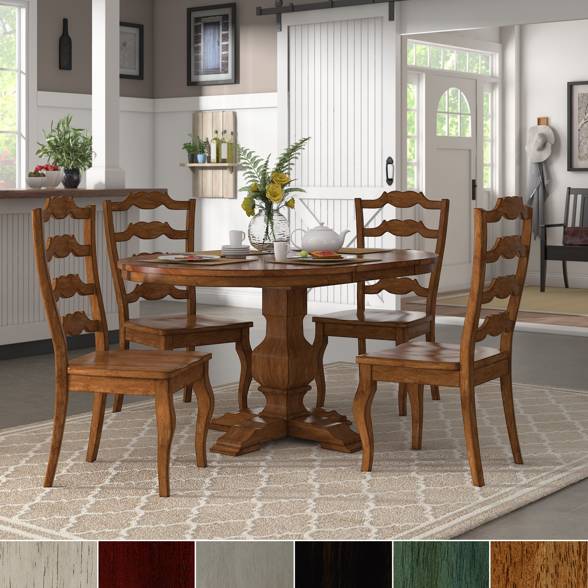 Eleanor Oak Extending Oval Wood Table French Back 5 Piece Dining Set Inspire Q Classic For Well Liked Rustic Brown Lorraine Pedestal Extending Dining Tables (View 19 of 25)