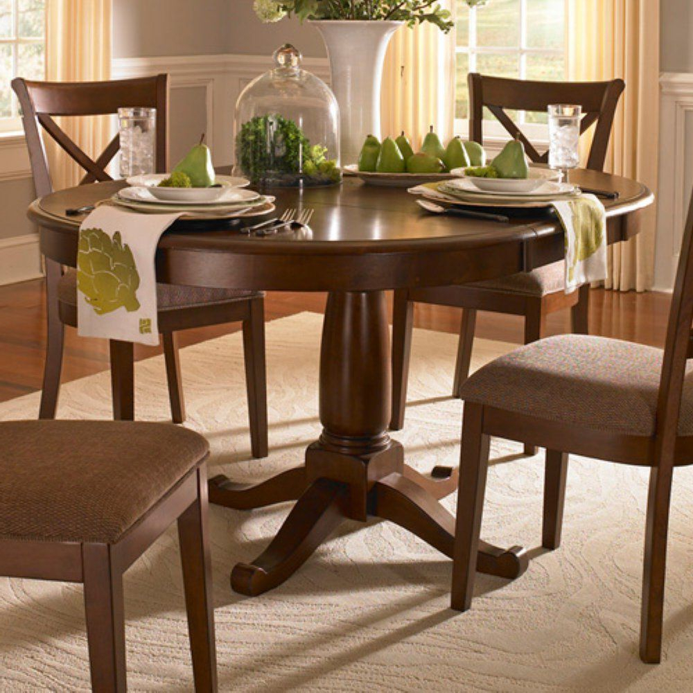 Fashionable Benchwright Extending Pedestal Dining Table Alfresco Brown Pertaining To Alfresco Brown Benchwright Pedestal Extending Dining Tables (View 23 of 25)