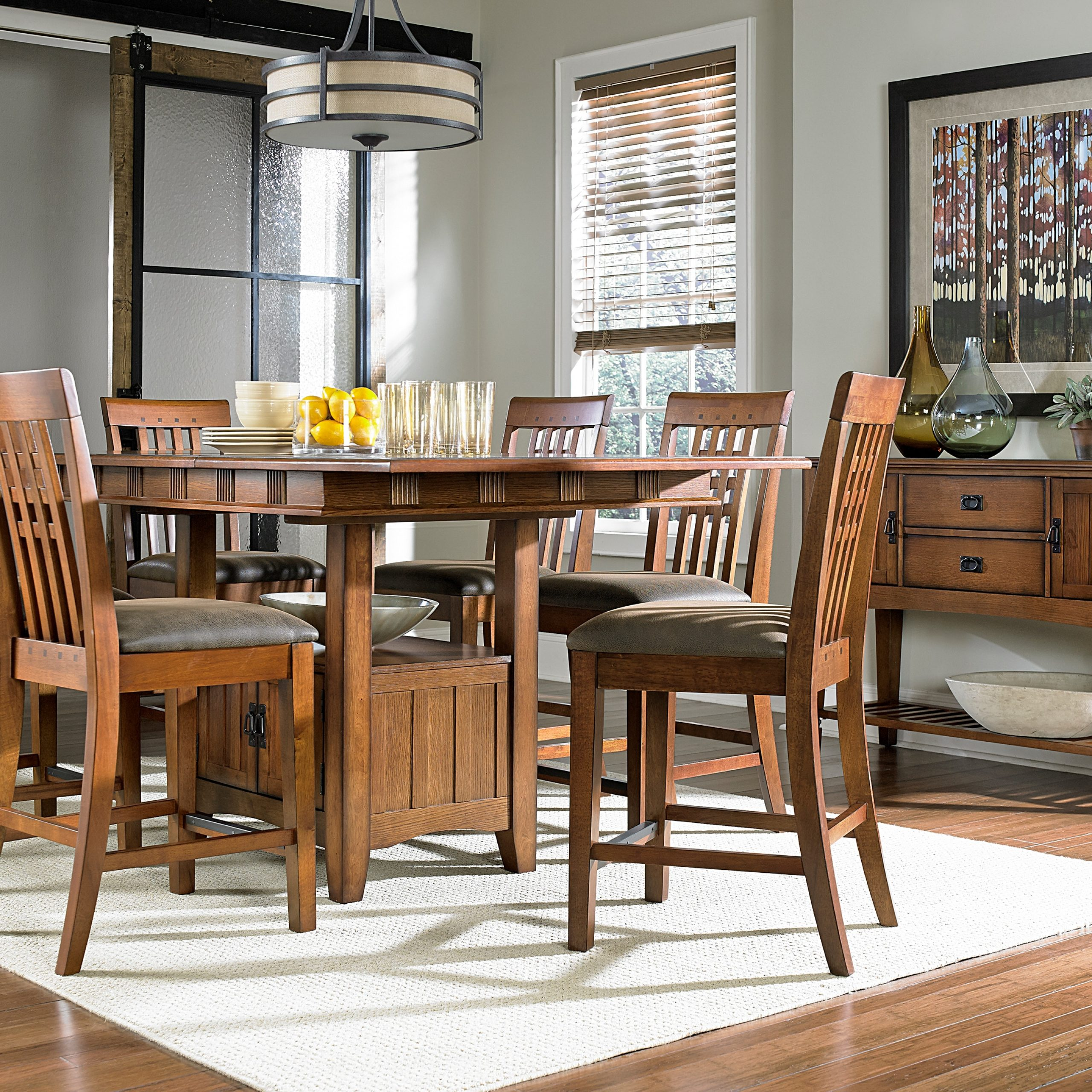 Fashionable Lucy Bar Height Dining Tables Pertaining To Oak Park Counter Height Table And Four Stools – Oak (View 19 of 25)