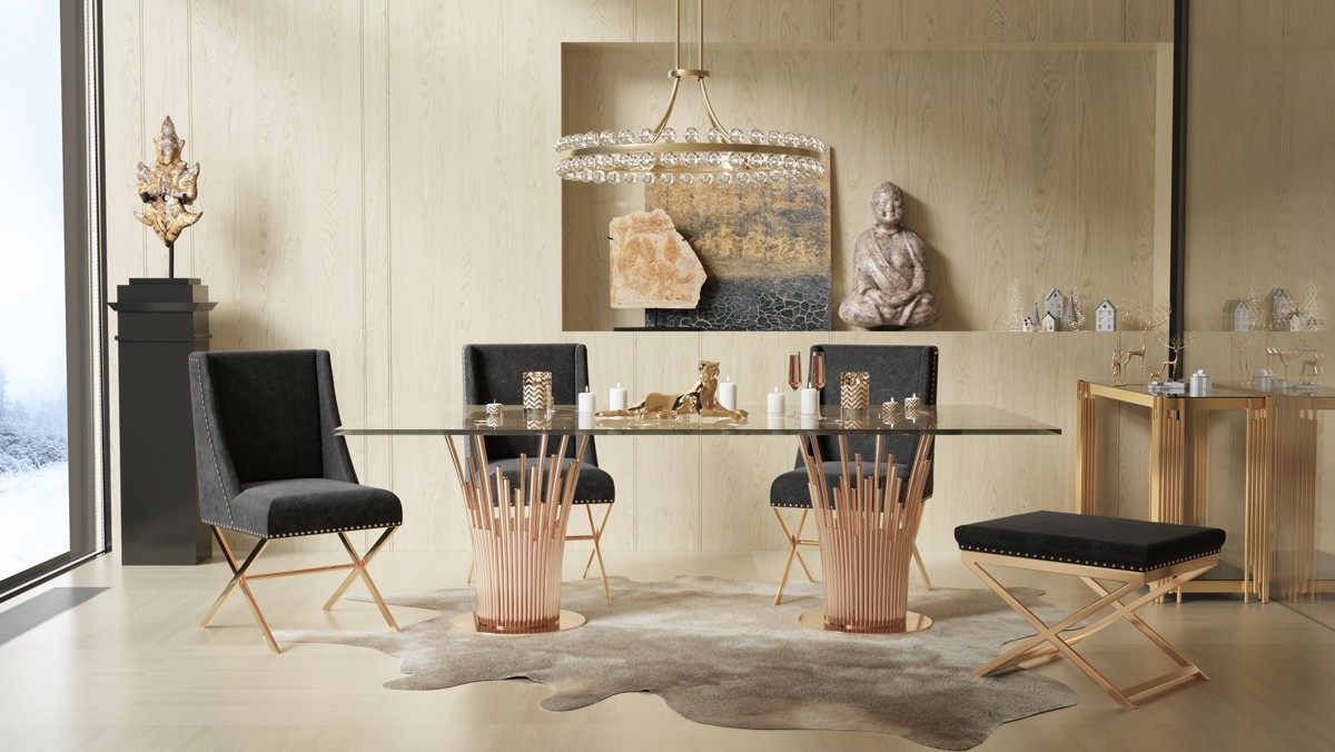 Fashionable Modrest Paxton Modern Glass & Rosegold Dining Table For Kipling Rectangular Dining Tables (View 25 of 25)