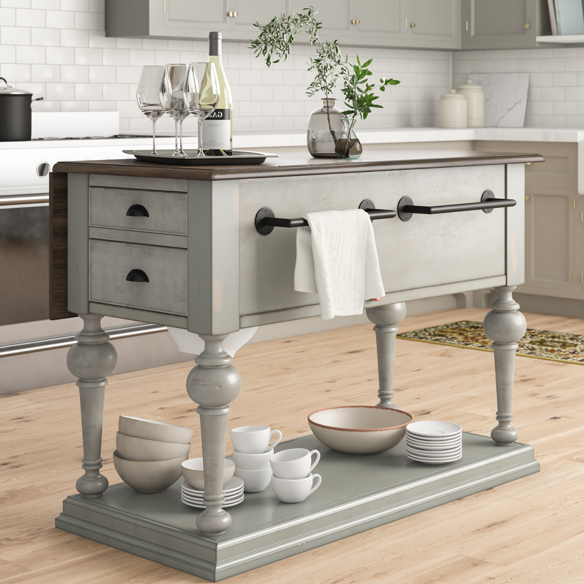 Fashionable Sandbach Kitchen Island With Wood Top For Elworth Kitchen Island (View 7 of 25)
