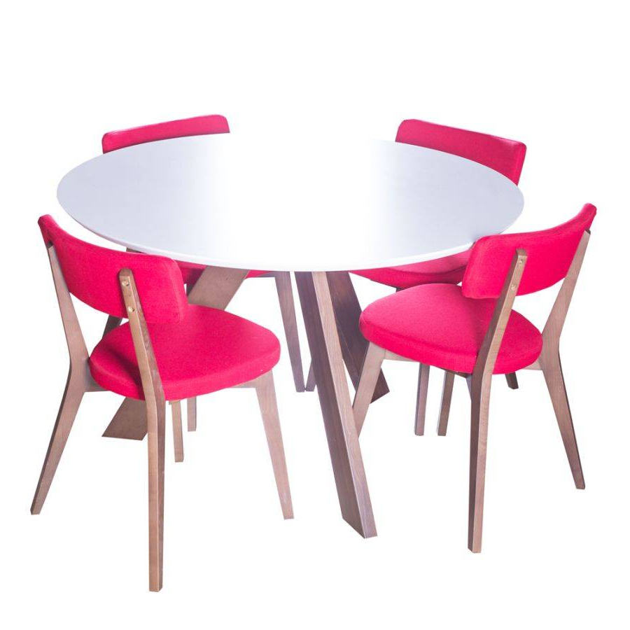 Fashionable Winning Round Dining Table 4 Wooden Chairs Glass Legs White With Linden Round Pedestal Dining Tables (View 23 of 25)