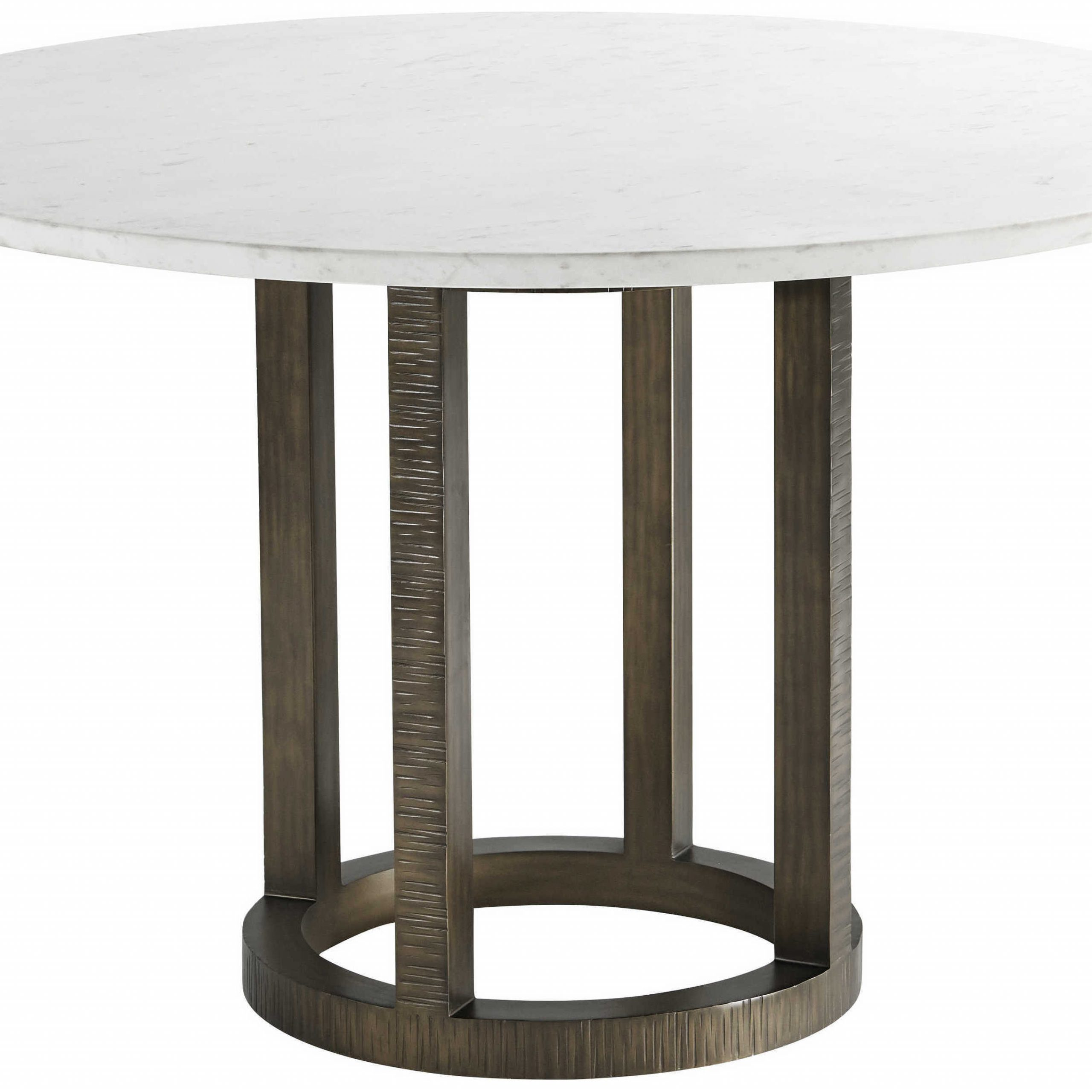 Favorite Alexandra Round Marble Pedestal Dining Tables Intended For Theodore Alexander Marble / Steel 48'' Wide Round Dining Table (View 18 of 25)