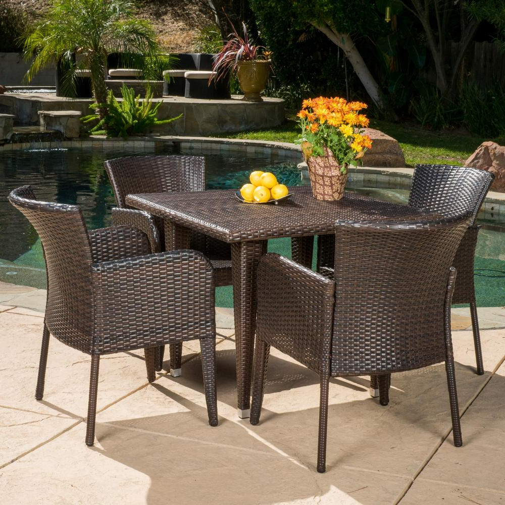 Favorite Faye Dining Tables Pertaining To Noble House Faye Multi Brown 5 Piece Wicker Square Outdoor Dining Set (View 21 of 25)