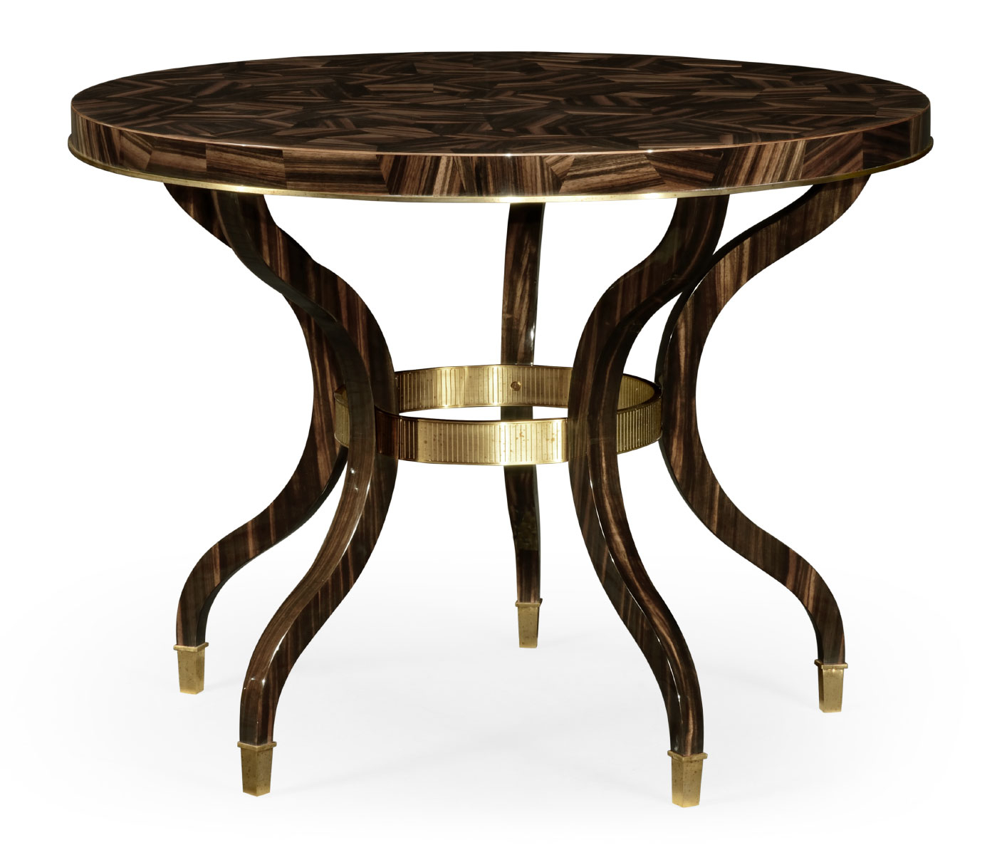 Favorite Icarus Round Bar Tables With Regard To Round Natural Macassar Ebony & Brass Centre Table (View 22 of 25)